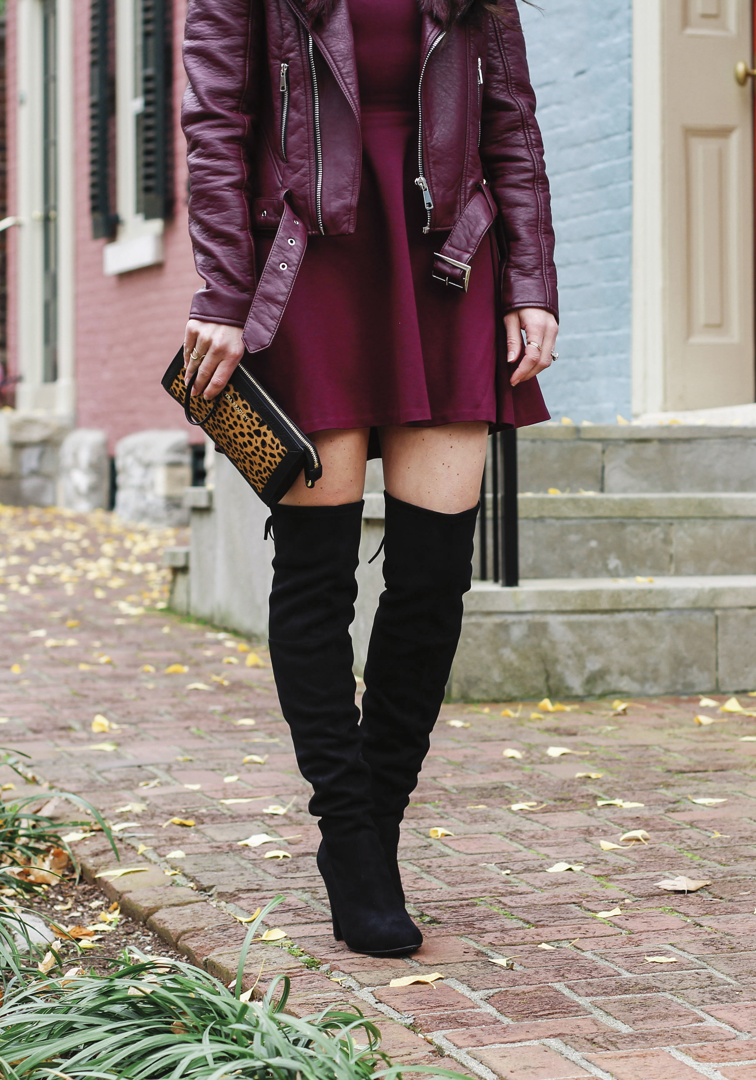 Cute fall outfits with over the knee boots, otk boot outfit ideas, Burgundy moto jacket with burgundy fit and flare dress, Steve Madden Gorgeous over the knee boots.