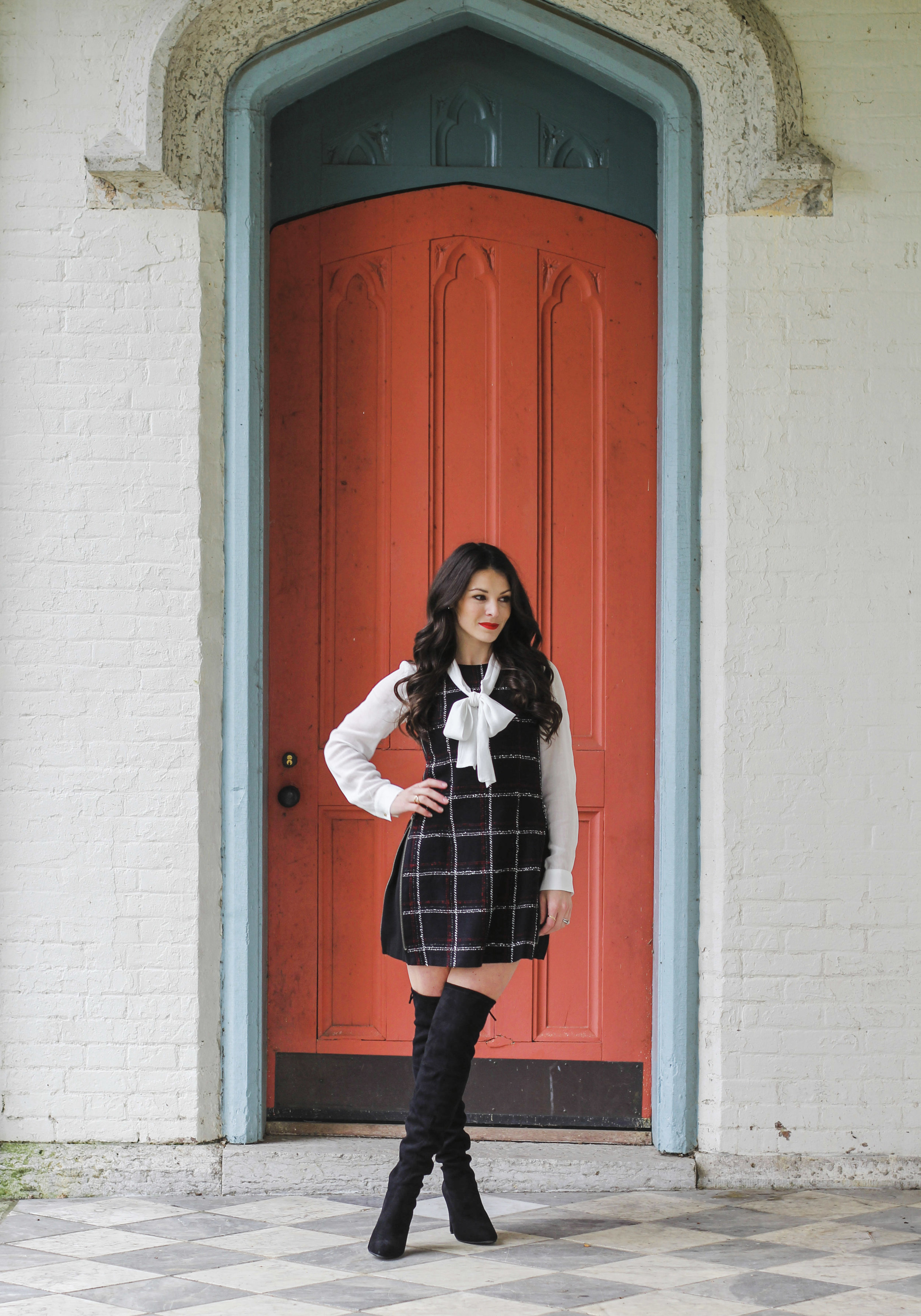 Over the knee boots outfit ideas, cute fall outfits, tweed fit and flare dress with bow blouse and Steve Madden Gorgeous over the knee boots.