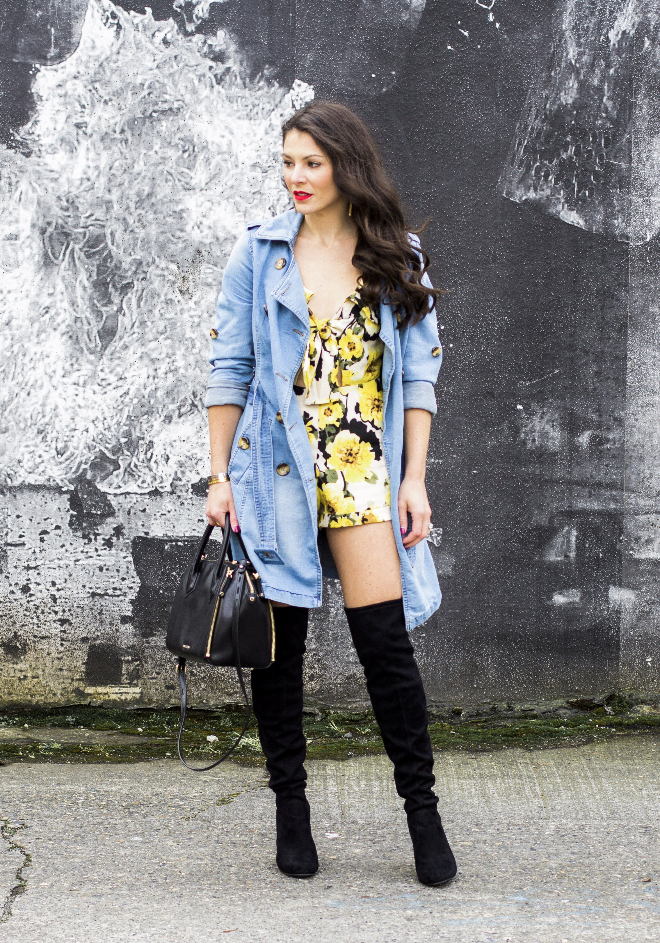 Over the knee boot outfit ideas, Cute fall outfits, floral romper with denim trench coat and Steve Madden Gorgeous over the knee boots.