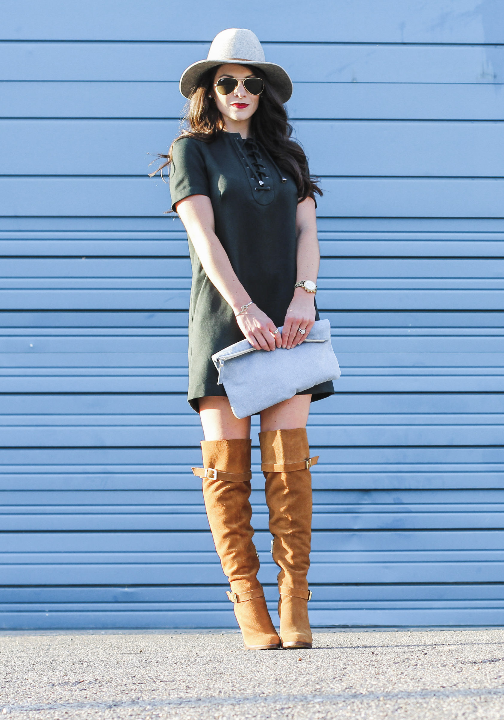 Over the knee boots outfit ideas, cute fall outfits, lace up dress with tan suede over the knee boots and gray fedora.