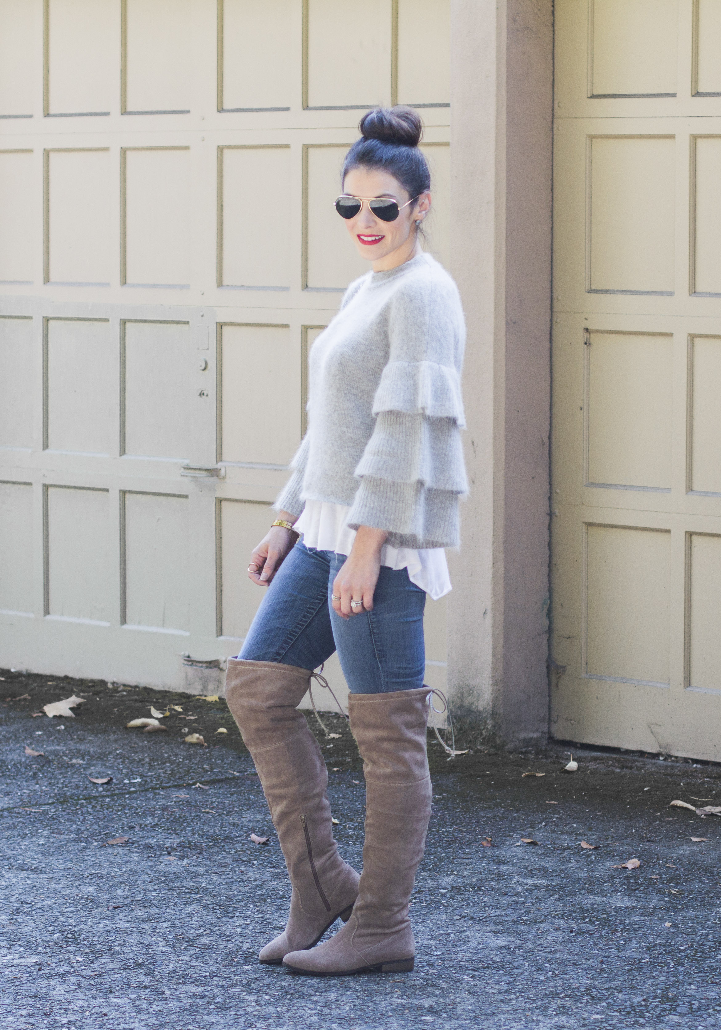 Cute over the knee boots outfits, fall outfits, Endless rose ruffle sleeve sweater, skinny jeans, taupe over the knee boots