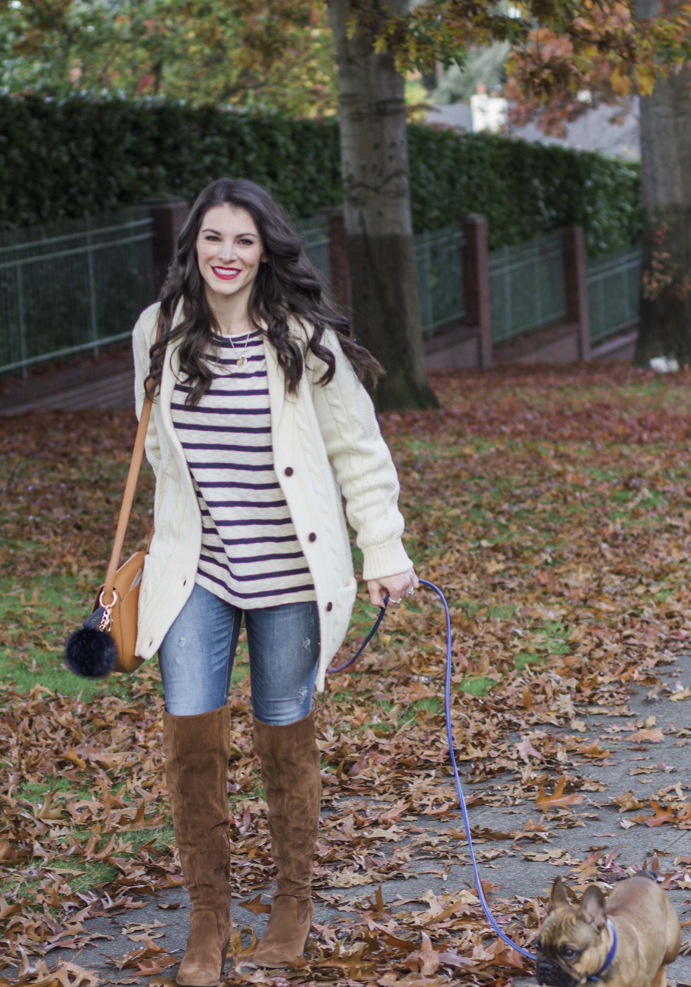 mark and graham women's cable cardigan fisherman sweater_daily saddle bag_leather dog collar and leash_steve madden eternul over the knee boots_bb dakota stripe sweater_cute fall outfit_crop-6.jpg