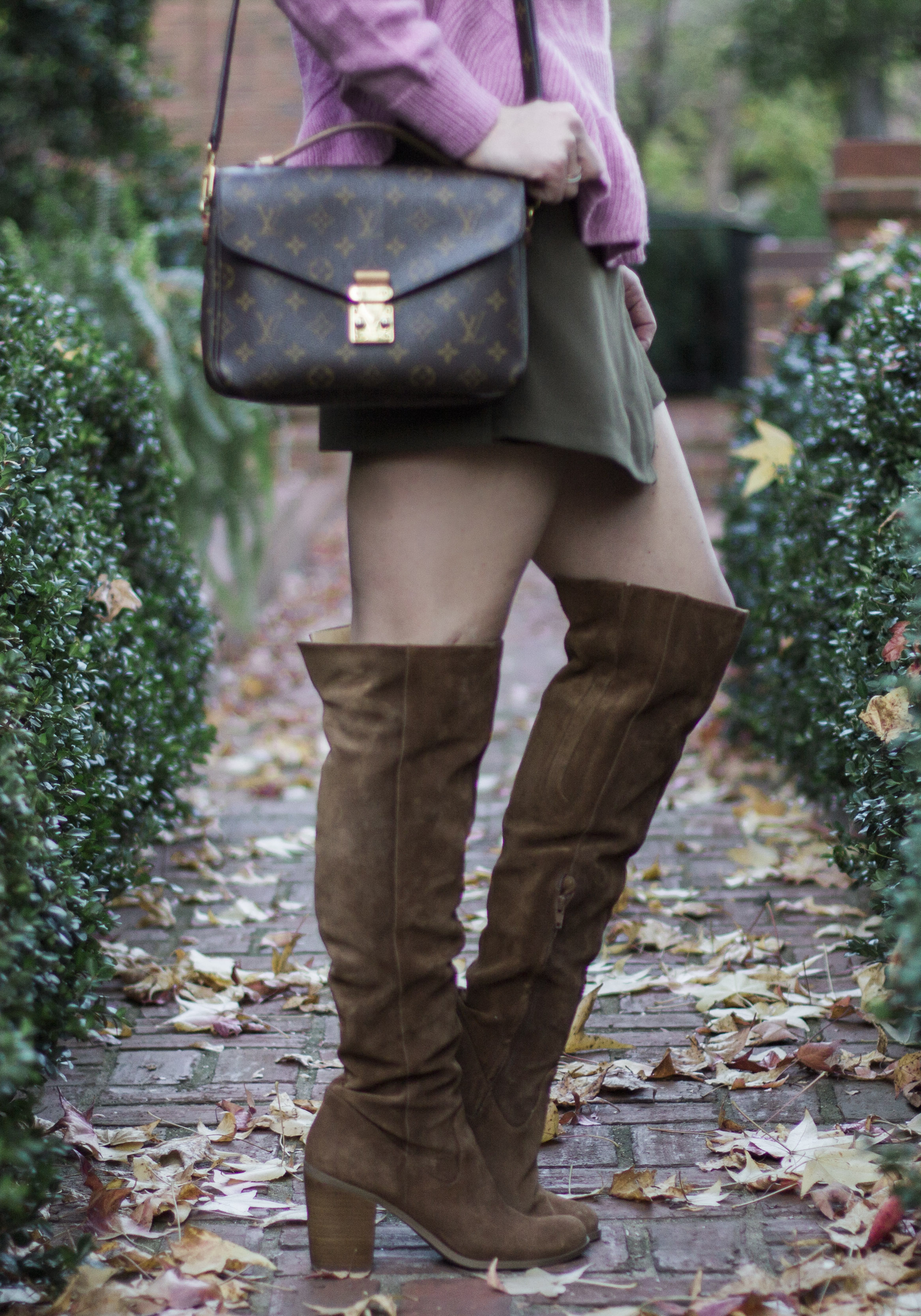 Cute fall or winter outfit, Chicwish adorable frilling hemline sweater, Chicwish preppy flap skirt, Steve Madden over the knee boots, Louis Vuitton Pochette Crossbody bag, & Kendra Scott Bridgete Pendant Necklace.