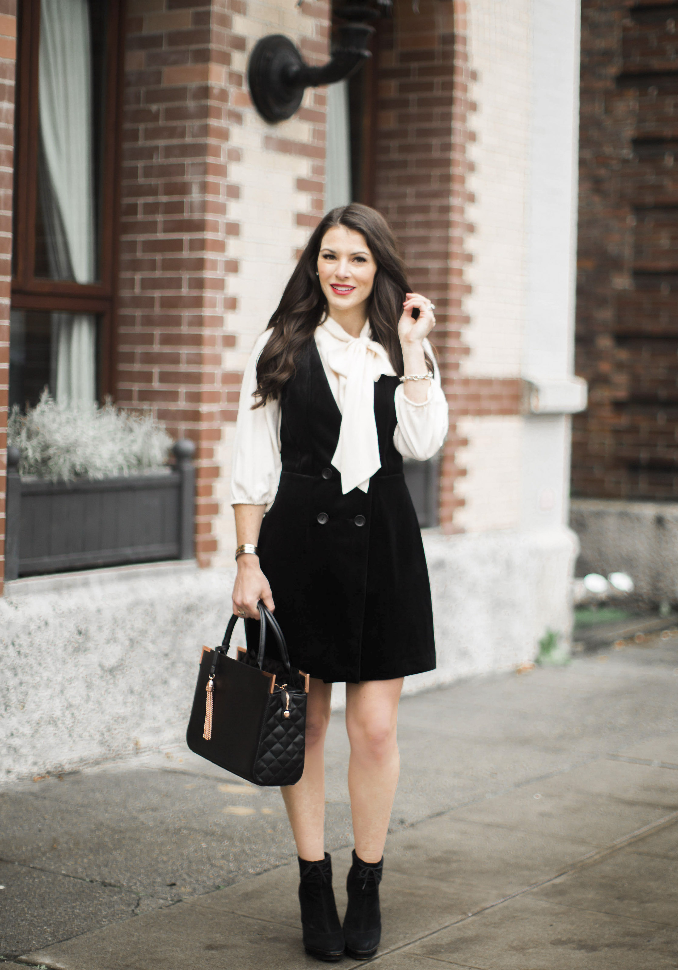 Holiday dress for work and a night out, Greylin velvet tuxedo dress, Leith Tie Neck Blouse, Black Booties, Steve Madden Bryrony Lace Up Pumps, Faux Fur Jacket.
