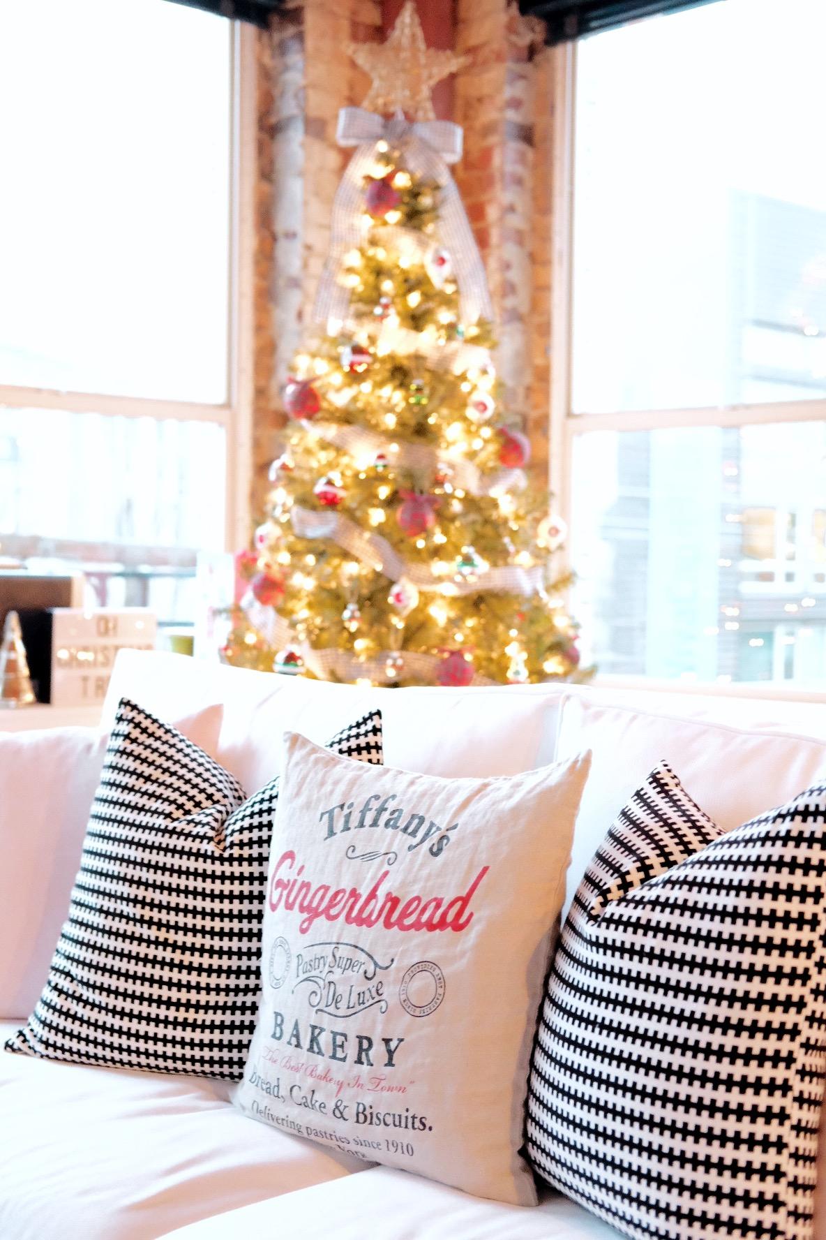 Plaid Christmas ornaments, Small Christmas Tree decorations, Dog Proof Christmas Tree, Christmas Tree on Vintage Suitcases, Fake Christmas Tree DIY Skirt, H&M Christmas Pillow
