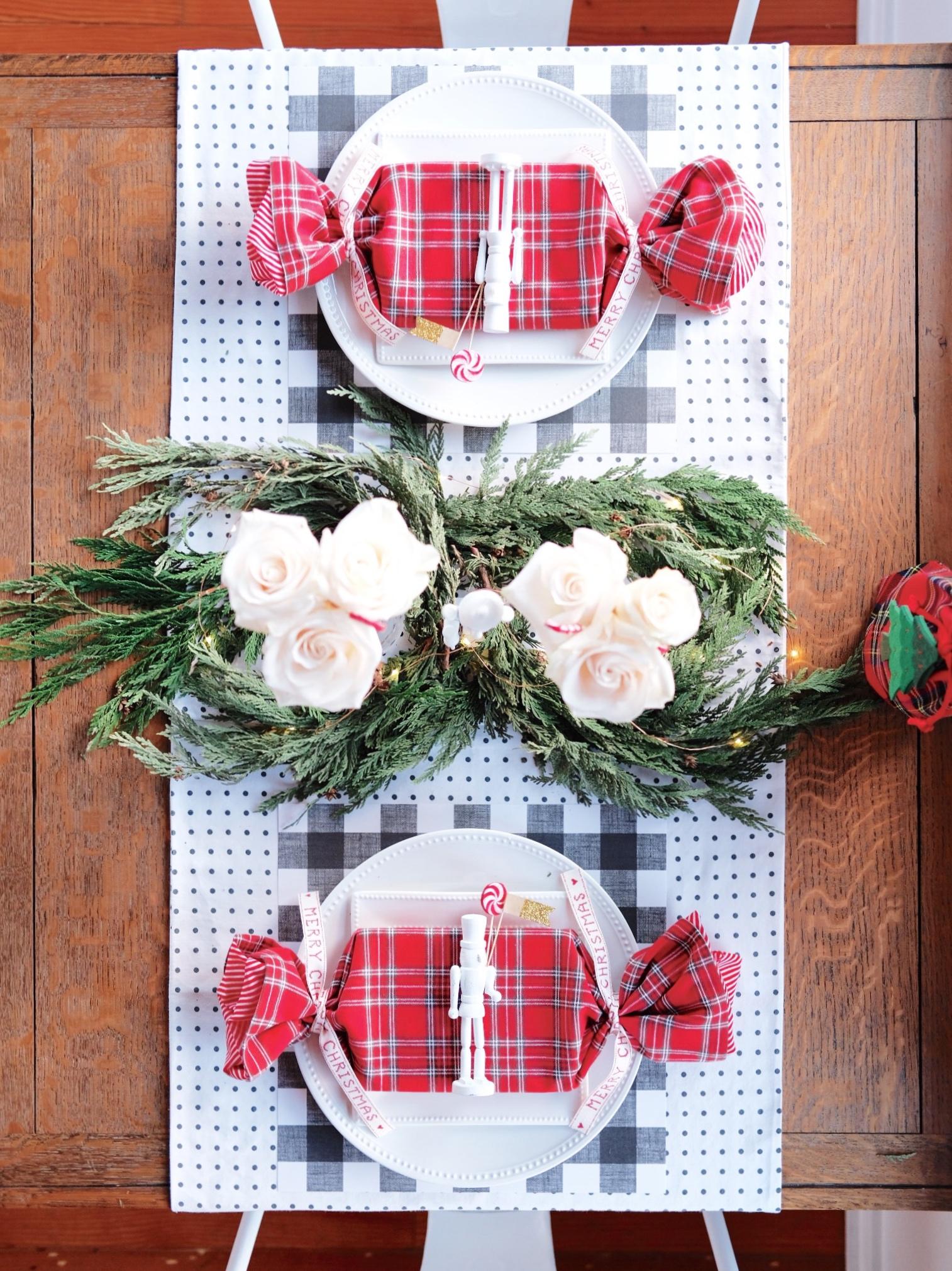 Budget friendly Christmas Tablescape, DIY Nutcracker Place Cards, Romantic Papyrus Christmas Card, Plaid Tablescape for Christmas, DIY Table Runner.