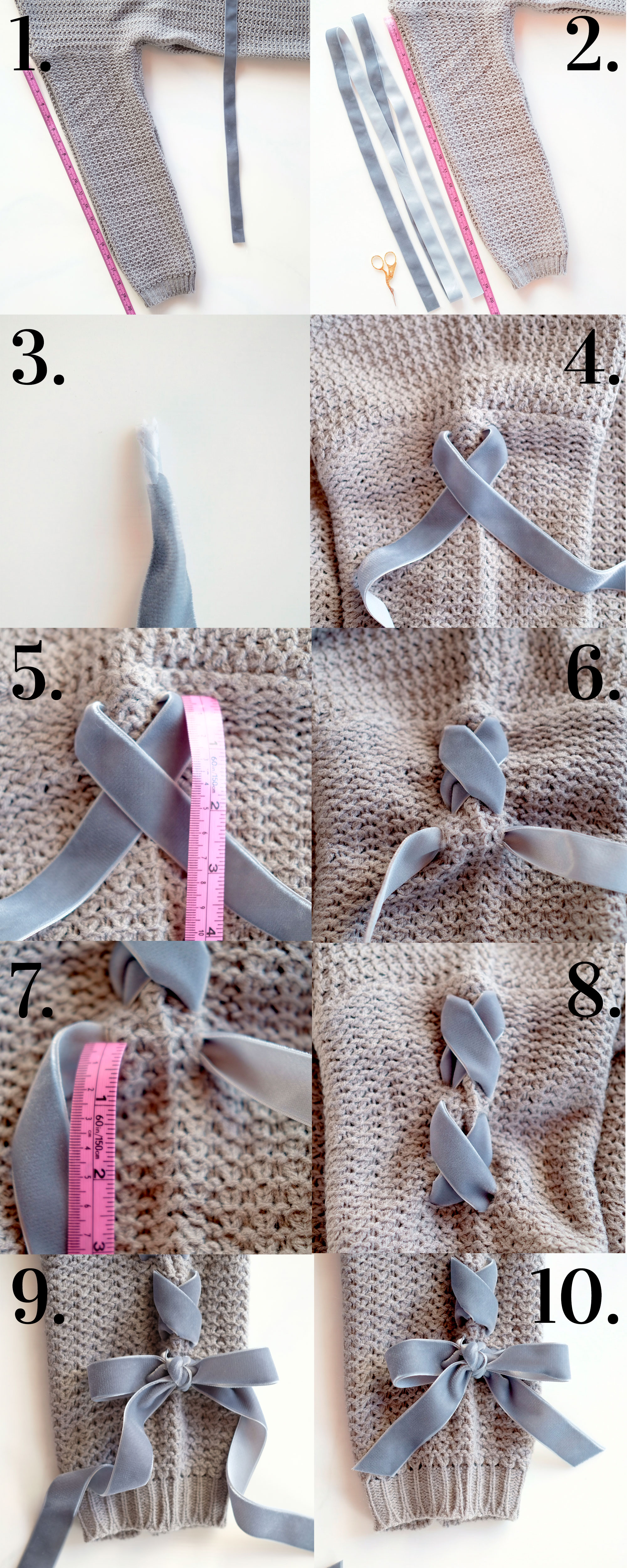 DIY lace-up sleeve sweater, cute winter DIY for under $30!