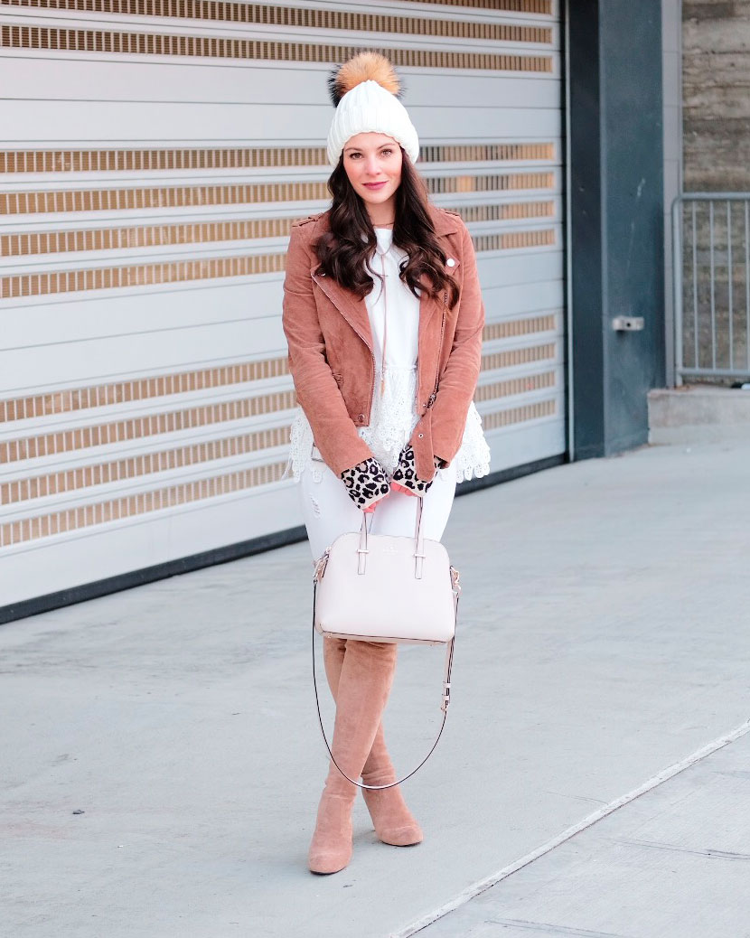 Cute winter outfits.  4 ways to wear a Blank NYC suede moto jacket, Stuart Weitzman highland dupe, over the knee boots outfit, white denim, white peplum top, and white pom pom beanie.