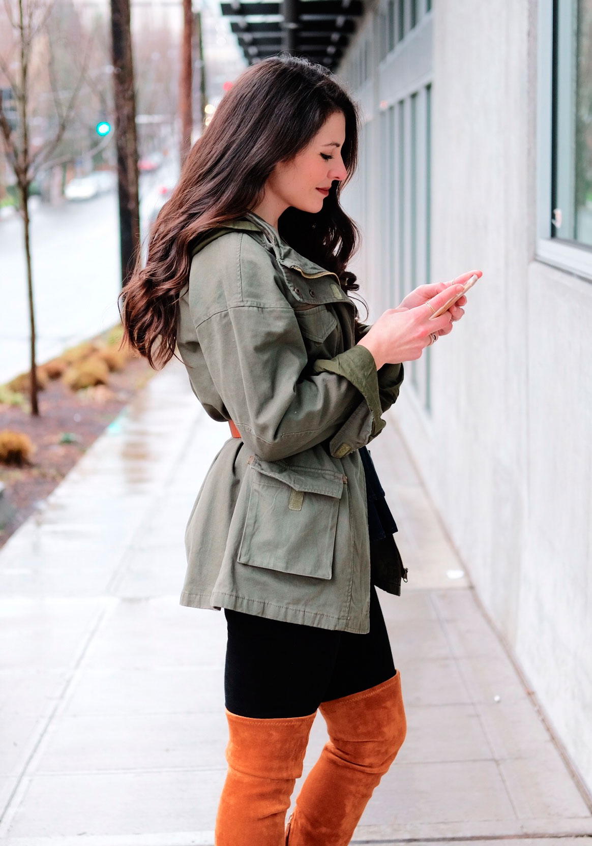 Over the knee boots outfit, Goodnight Macaroon Marlo over the knee boots, black skinny jeans, denim peplum, and belted utility jacket with patches.