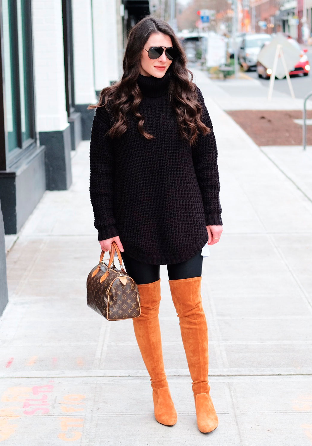 Over the knee boots outfit, Goodnight Macaroon Marlo Over the Knee Boots, Oversized sweater, boyfriend oxford, Louis Vuitton speedy 25, and spanx faux leather leggings.