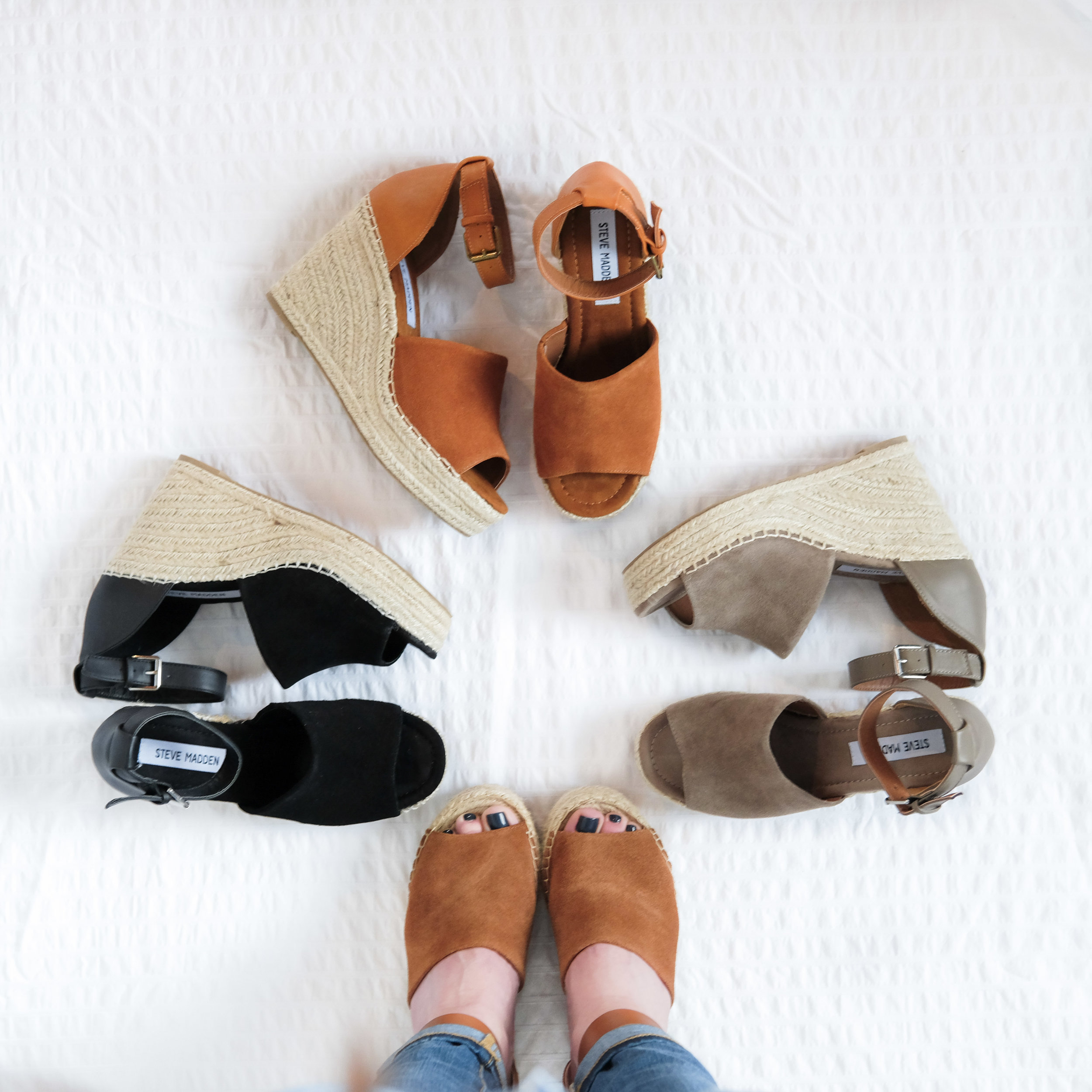 Marc Fisher Adalyn dupes, Steve Madden Jaylen Wedges vs. Marc Fisher, cute and comfortable wedges for summer.