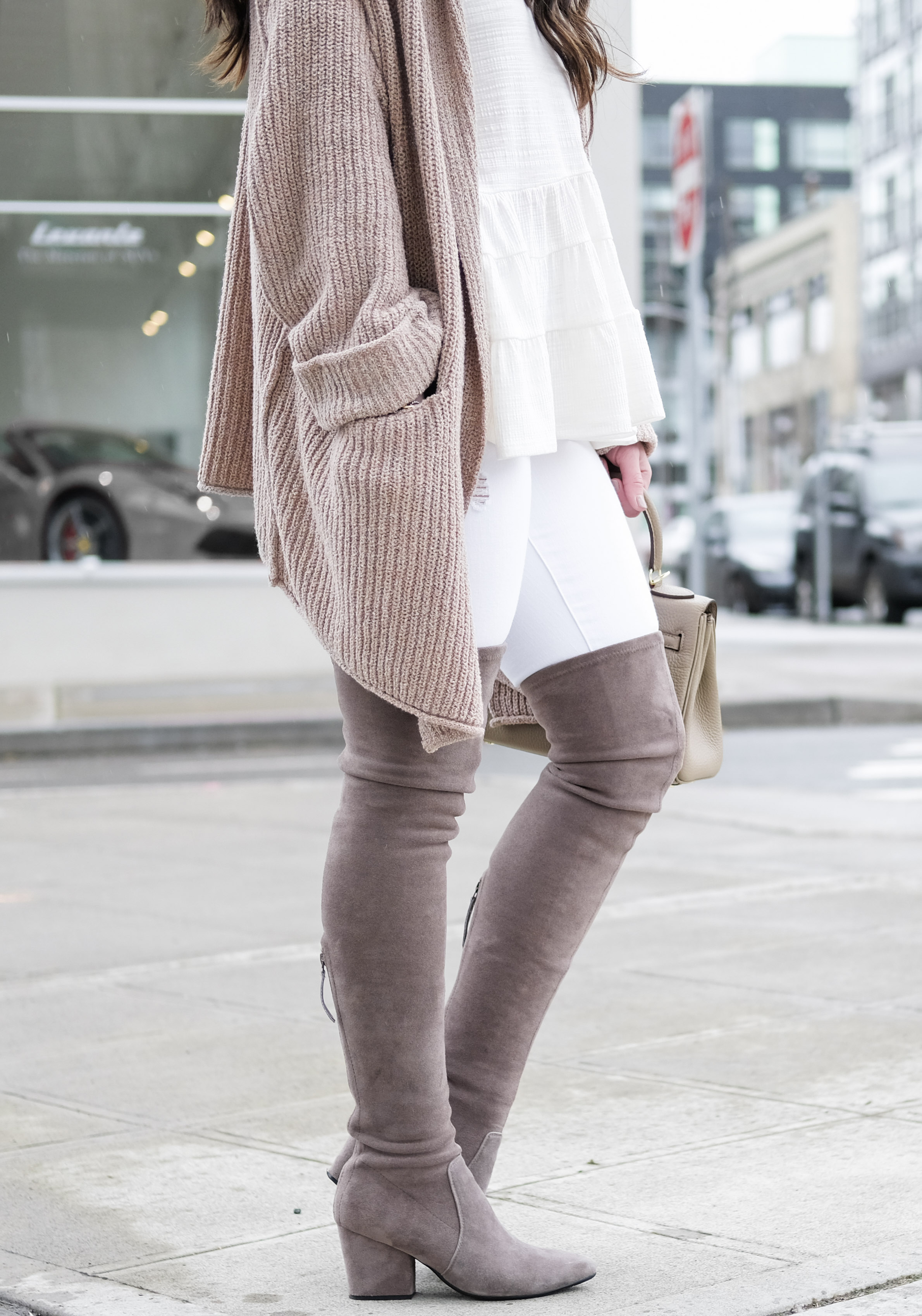 Over the knee boots outfit, Cute outfit for early spring, Goodnight Macaroon over the knee boots, Free People 'Low Tide' Cardigan, white top with white skinny jeans, and $109 Hermes Kelly look alike bag.