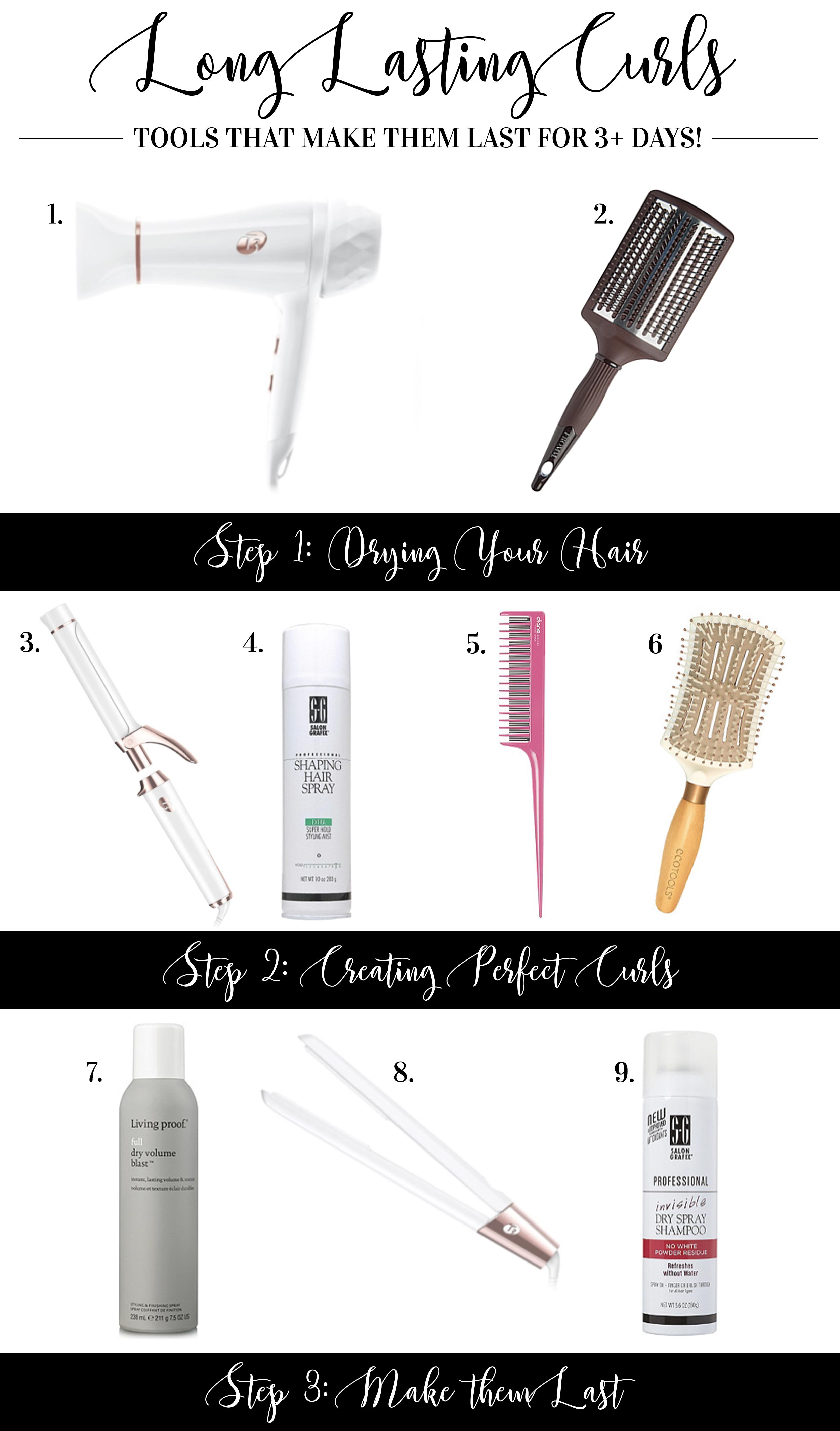 Products and tools to make your curls last longer.  Curls that last more than a day.