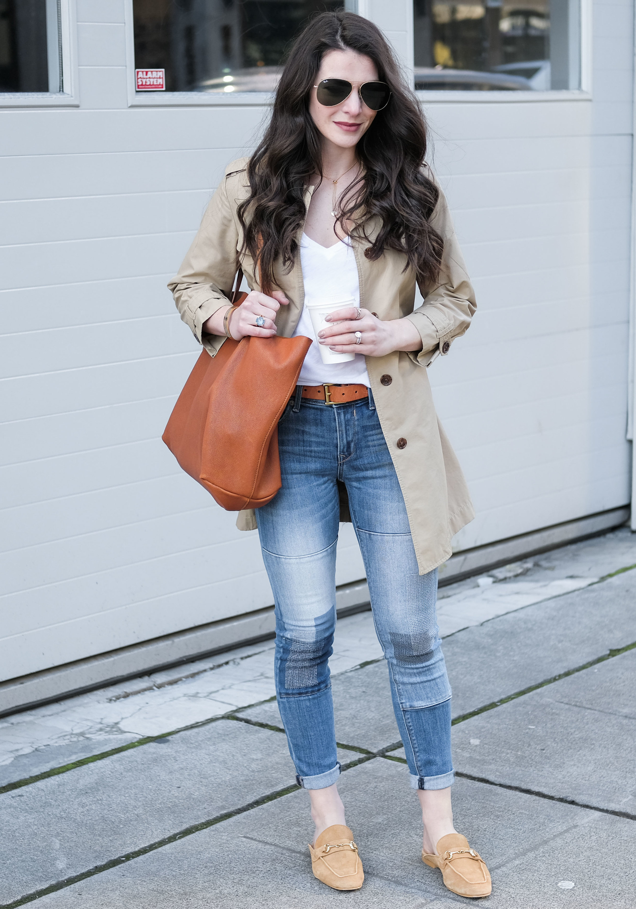 Steve Madden Razzi Mules, cute spring outfits with backless mules, trench coat outfit, cute spring outfit.