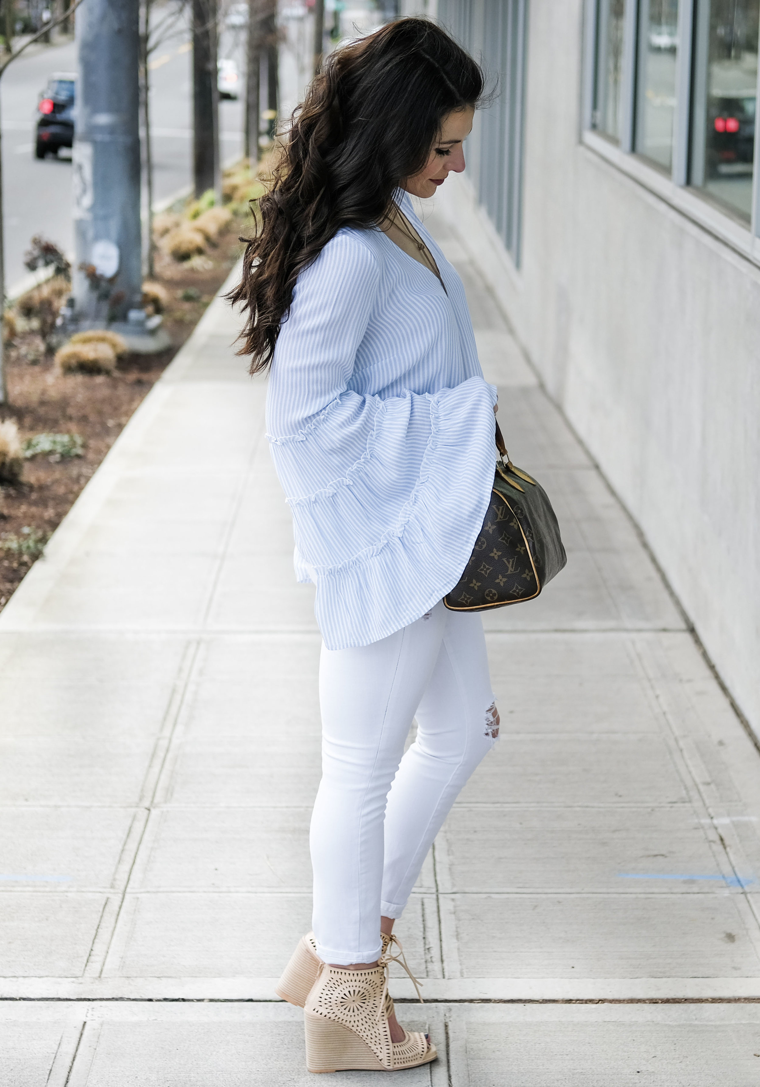 Jeffrey Campbell Rayos Peforated Wedge Sandals, Cute Spring Outfit, Louis Vuitton Speedy 25, affordable spring sandals.