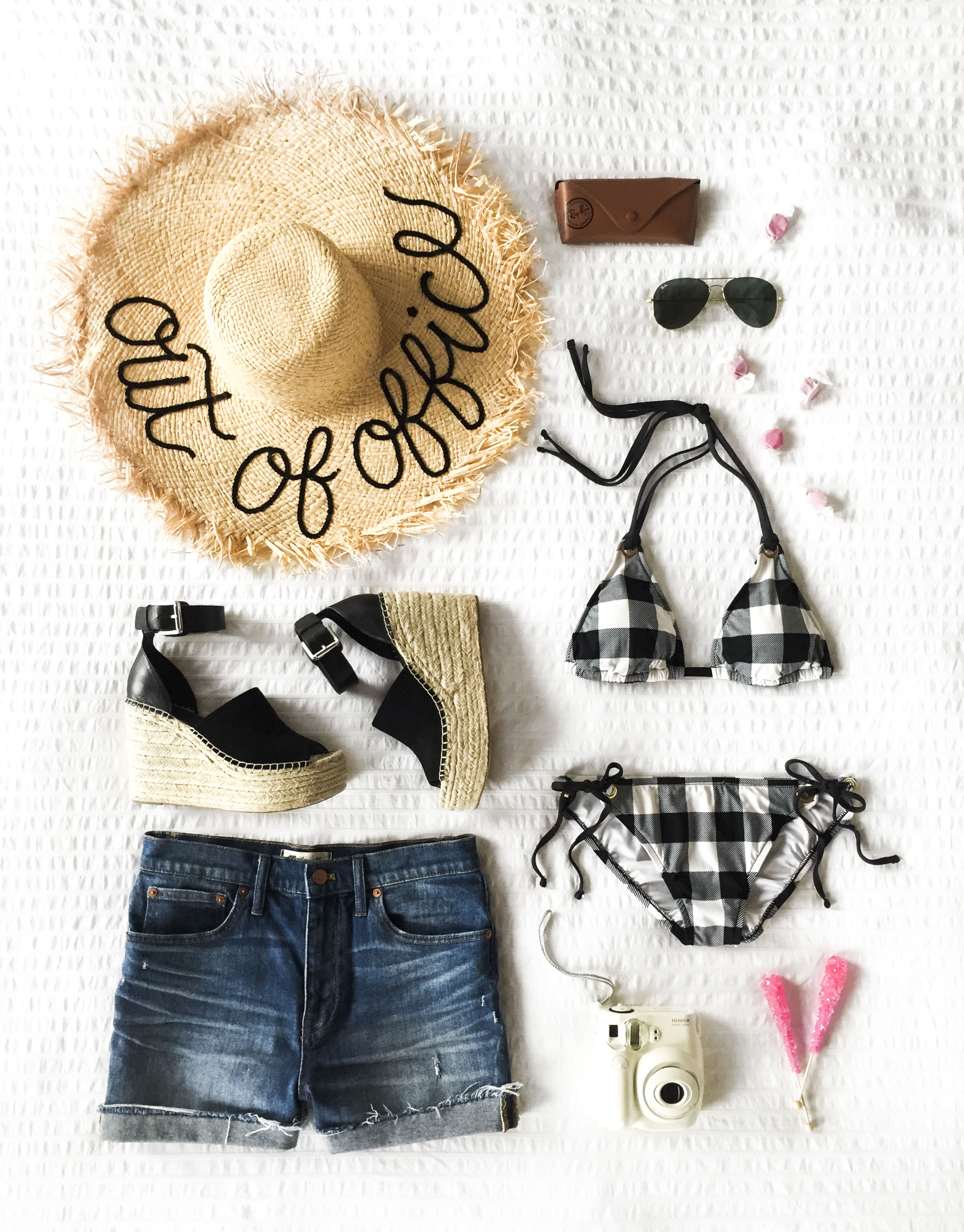 Cute outfit for vacation. Madewell cuffed high waist denim shorts, DIY Eugenia Kim Hat, Marc Fisher Adalyn Wedges Black, La Blanca 'Tres Chic' gingham bikini. Coverup alternatives.