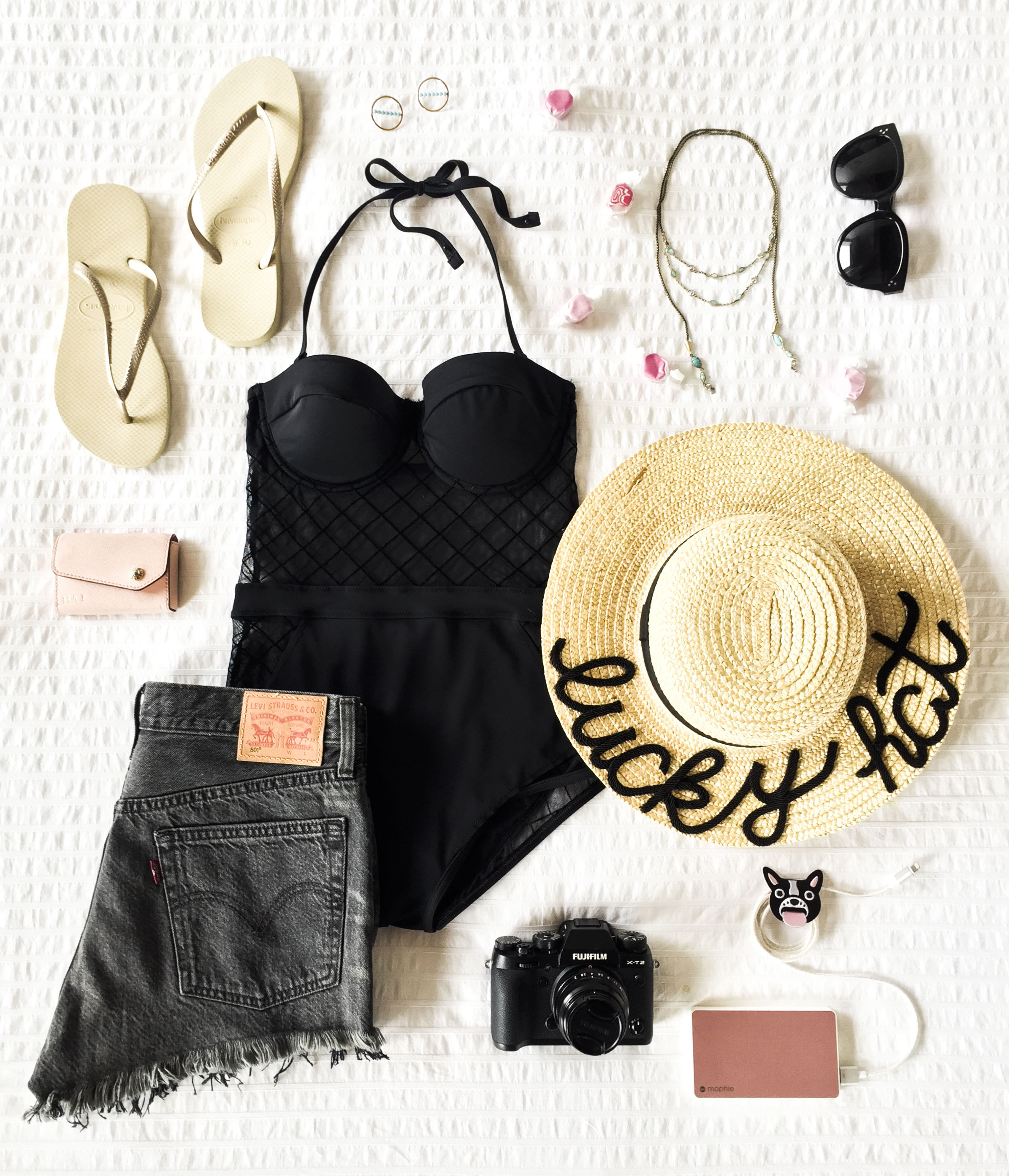 Sexy one piece swimsuit- ASOS diamond mesh cupped swimsuit, DIY Eugenia Kim hat, Levi's 501 shorts, Havaianas flip flops, and Celine Audrey sunglasses. Cute outfit for vacation.