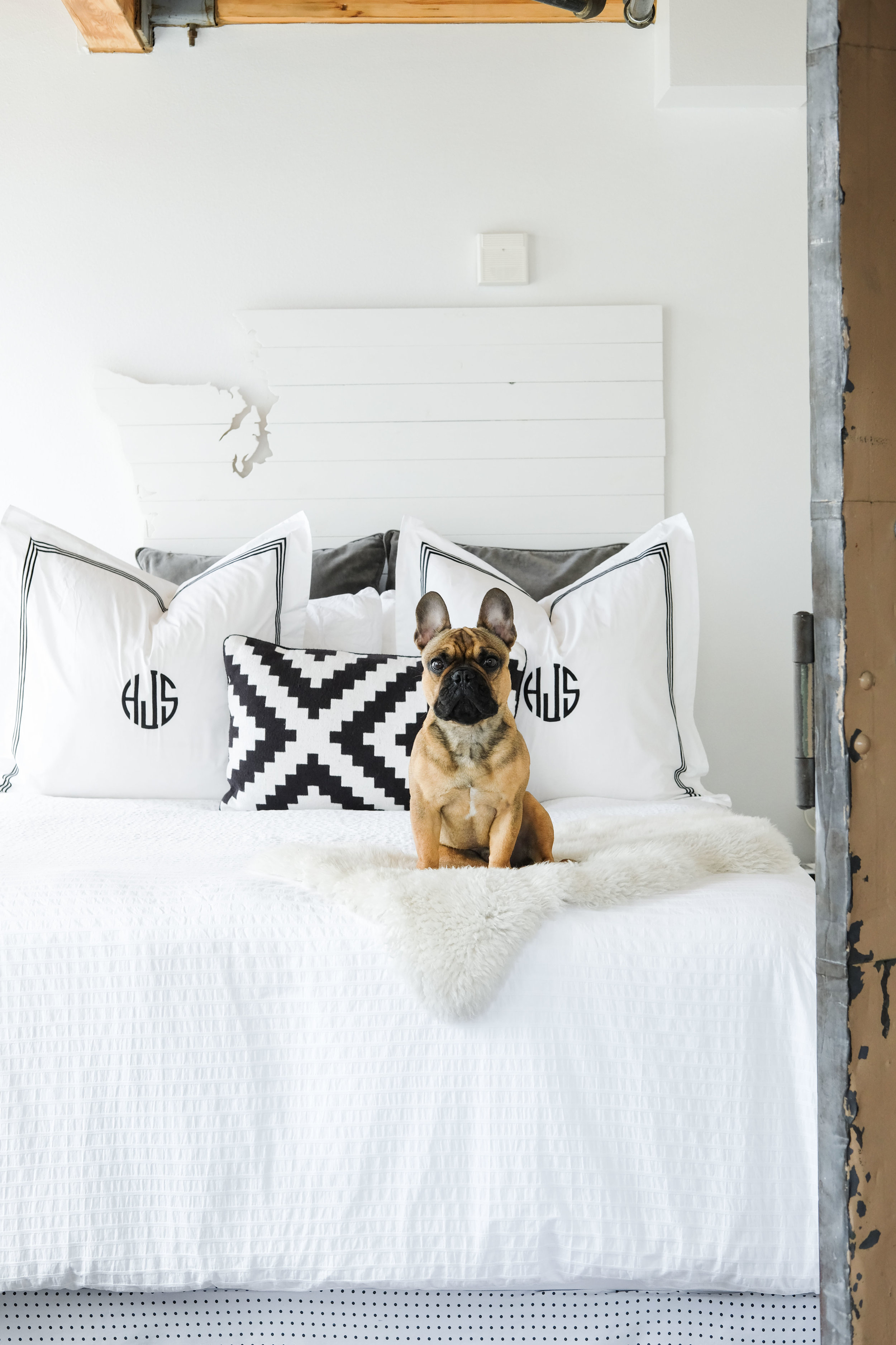 Industrial loft decor.  All white master bedroom.  DIY headboard.  DIY no sew skirt.  Storage frame.  Storage hacks for small bedrooms.  Red fawn french bulldog.