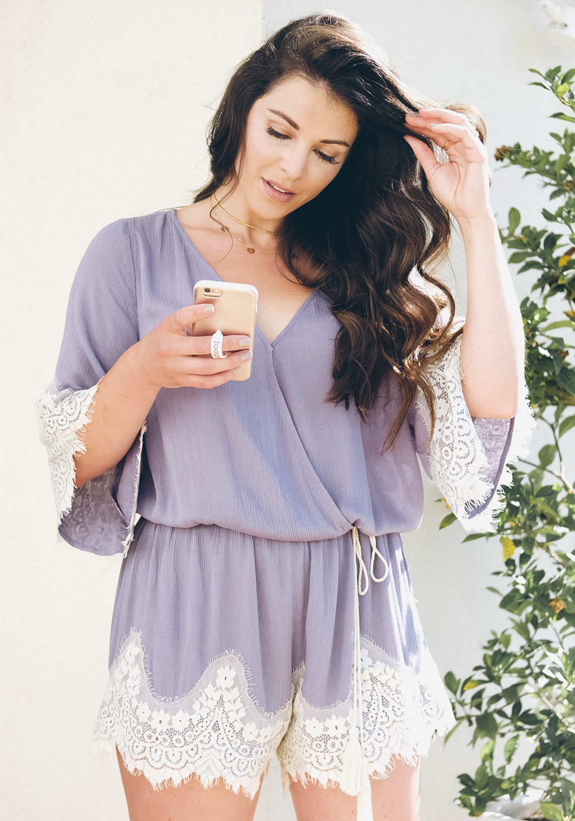 Affordable summer rompers, casual summer romper with lace trim.