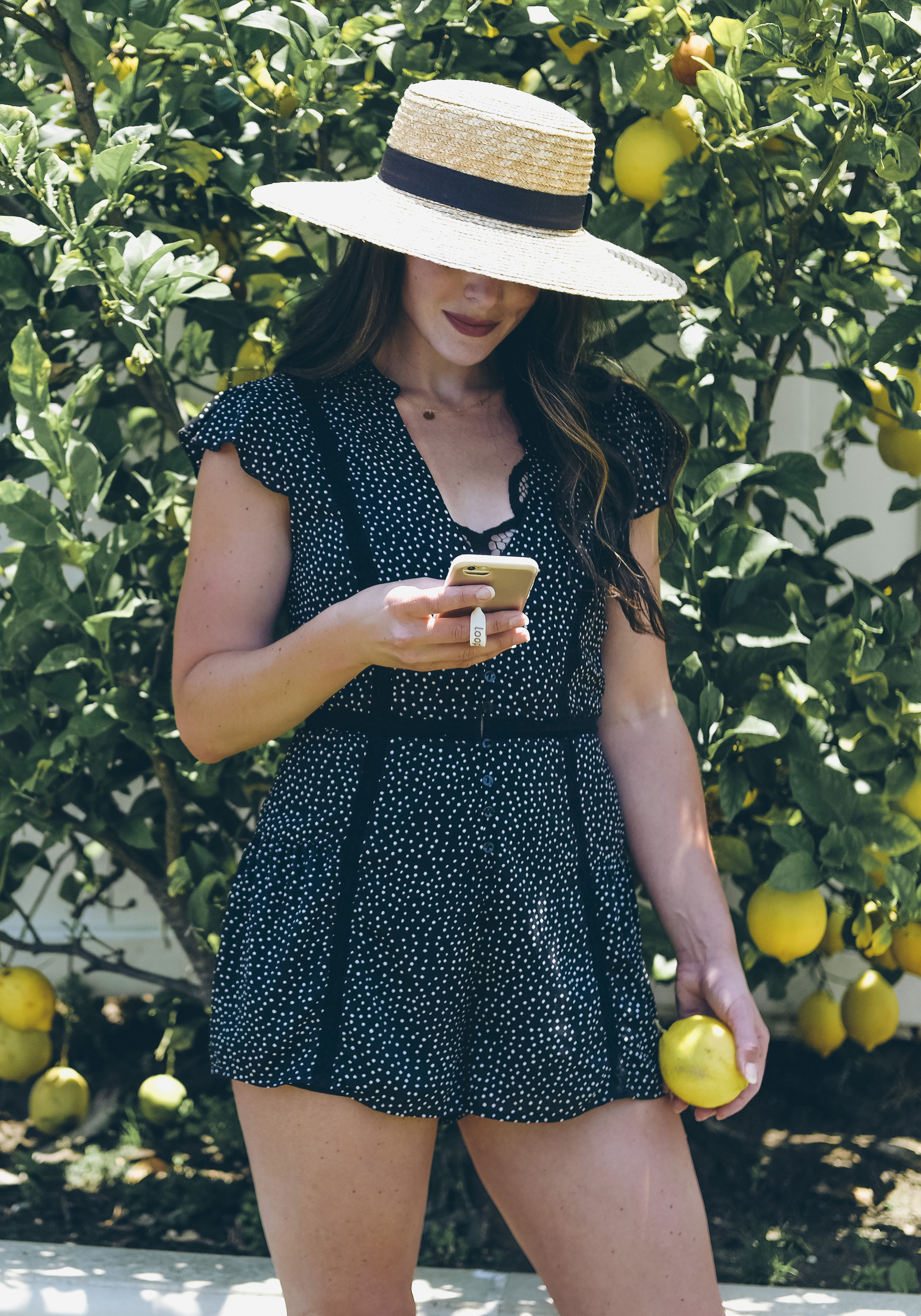 Affordable Summer Rompers, Amuse Society Violet Print Romper, Boater Hat Outfit.