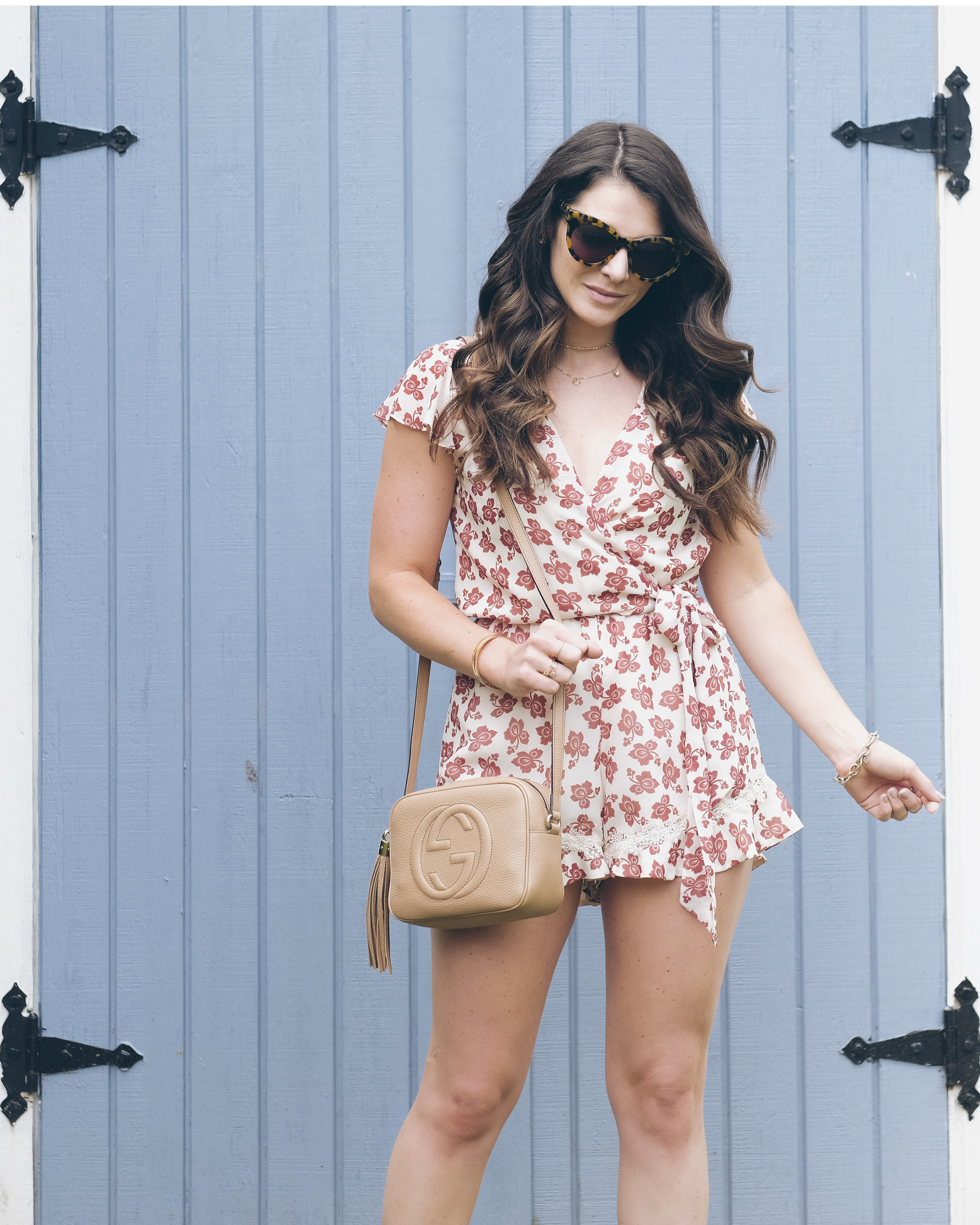 Affordable summer rompers, Gucci soho disco bag, Tularosa Floral Paisley romper