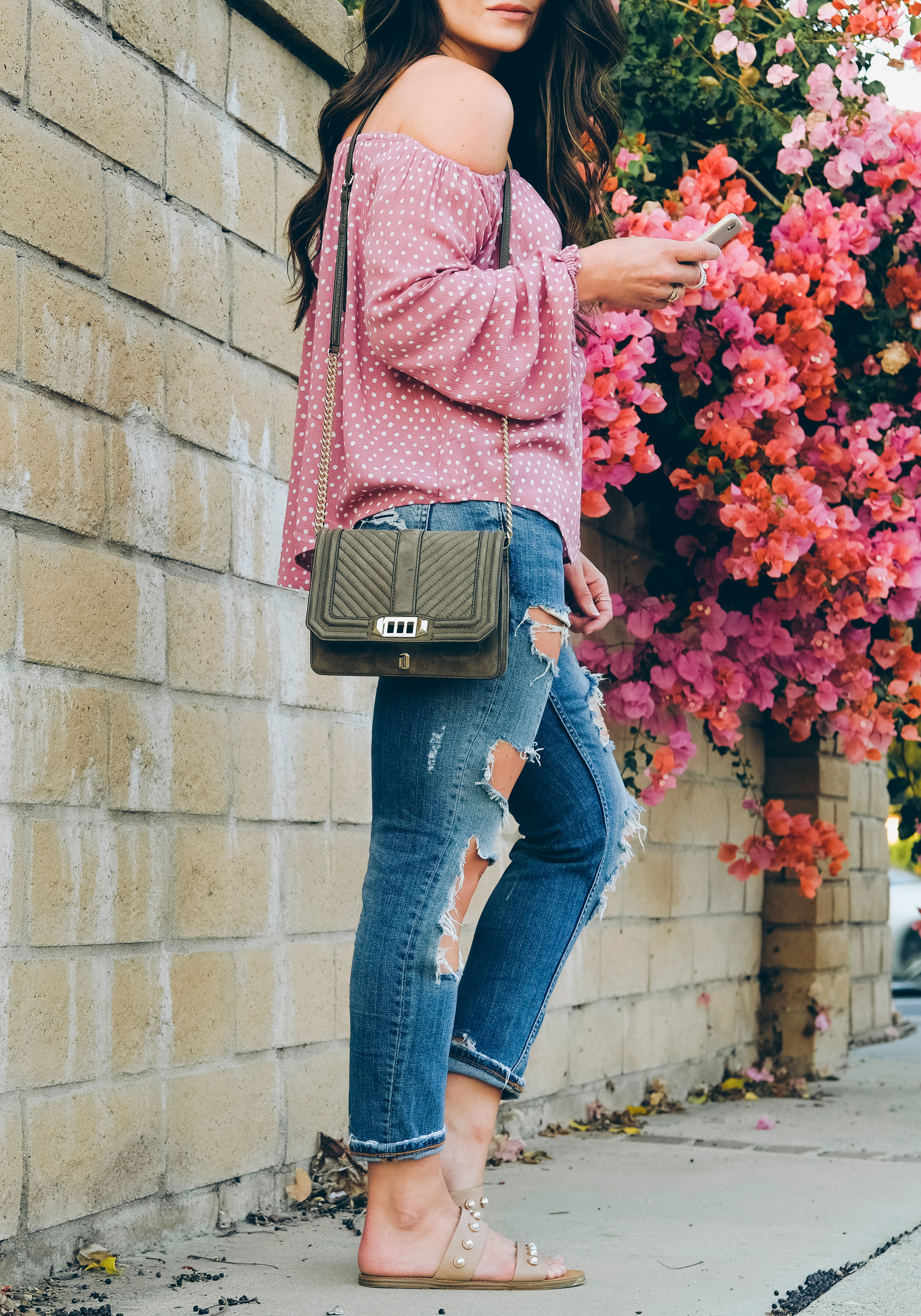 Nordstrom Anniversary Sale 2017, Billabong Mi Amore off the shoulder top, destroyed jeans, Steve Madden Jole sandals, Rebecca Minkoff Nubuck suede Love crossbody handbag.  Pink flowers.