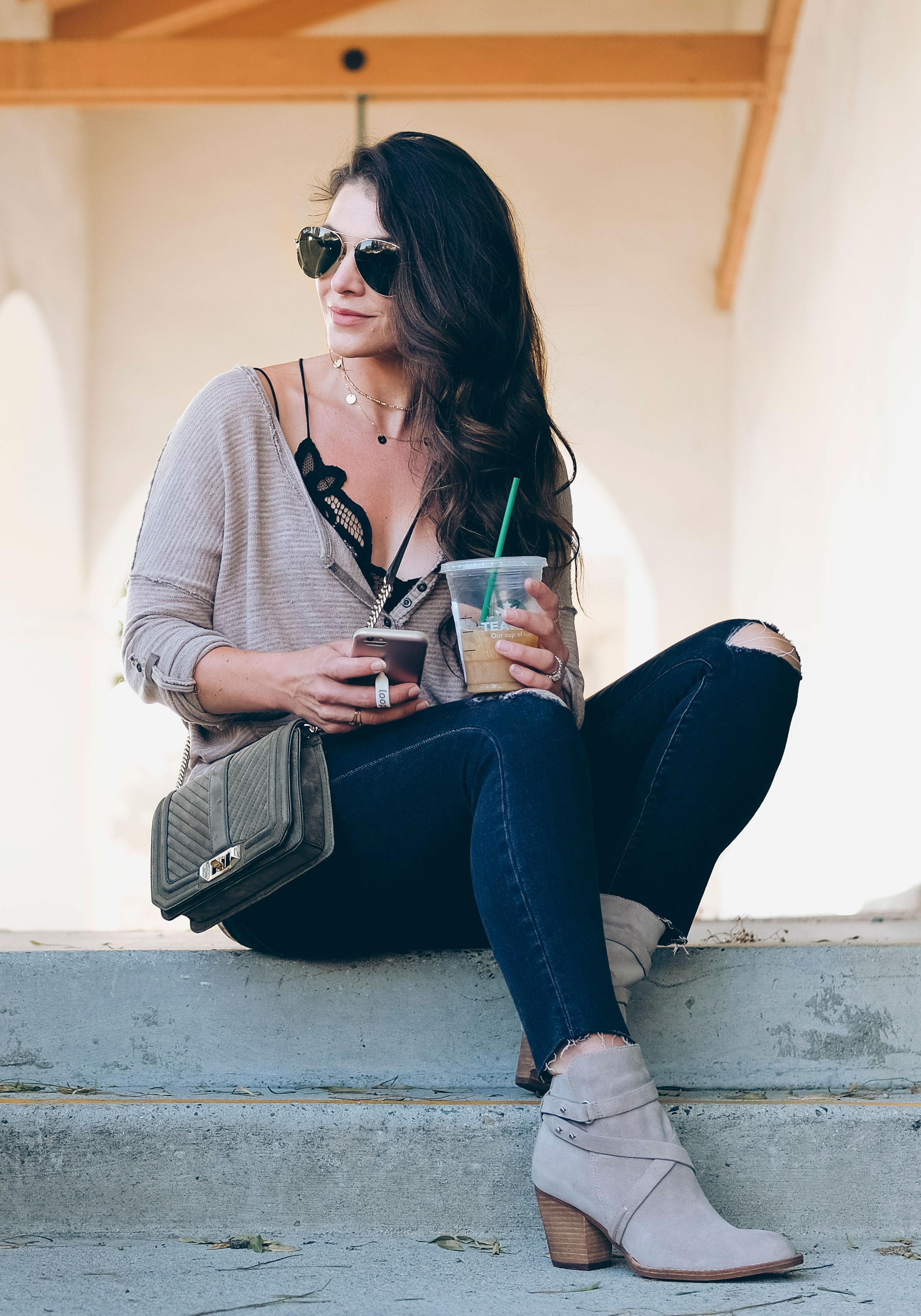 Nordstrom Anniversary Sale 2017.  Free People Beach Haven Tee, Madewell high rise ripped skinny jeans, Sam Edelman Merton booties, Rebecca Minkoff nubuck suede Love crossbody bag.