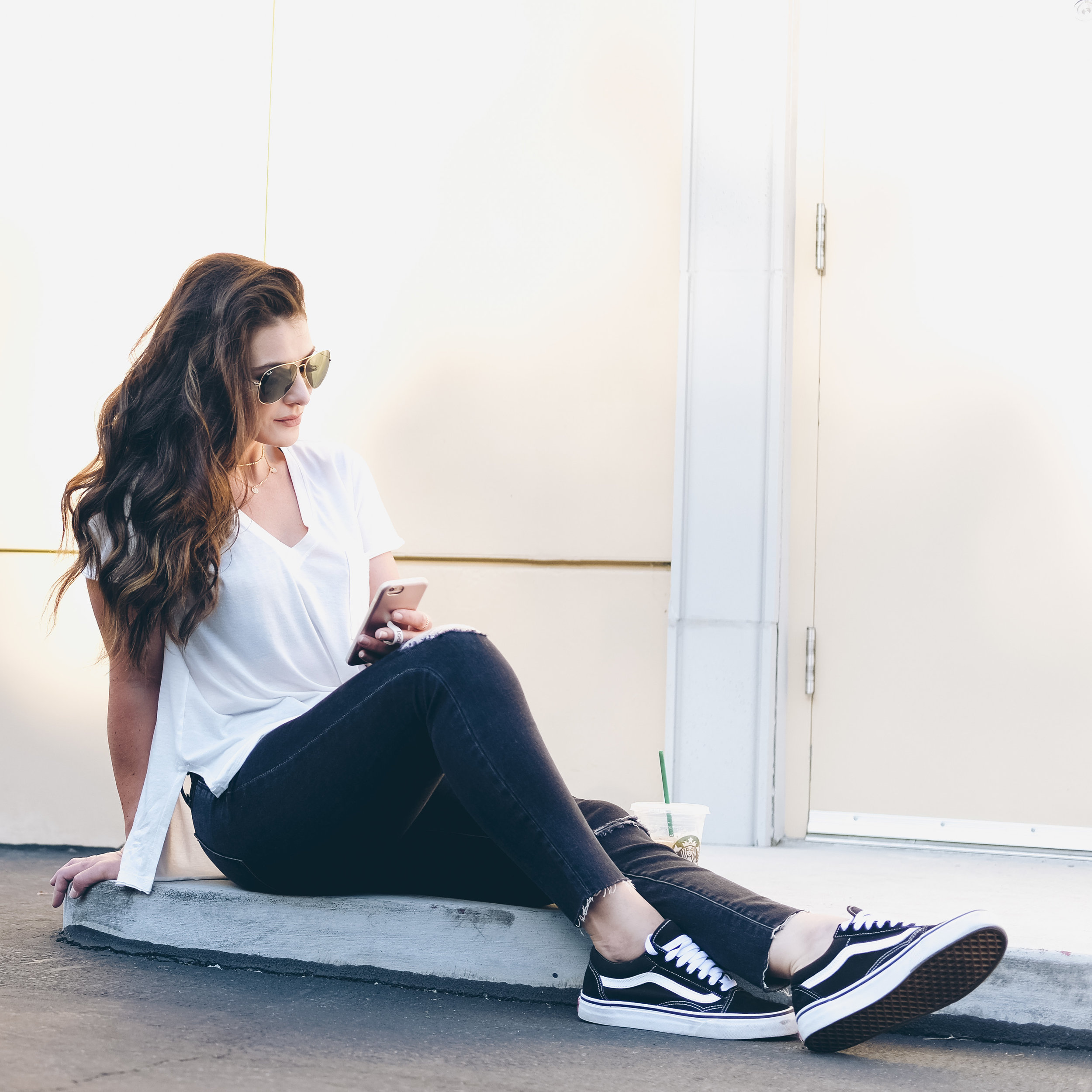 Caslon V Neck tee, Madewell 10 inch ripped skinny jeans, Vans Old School Core Classics.