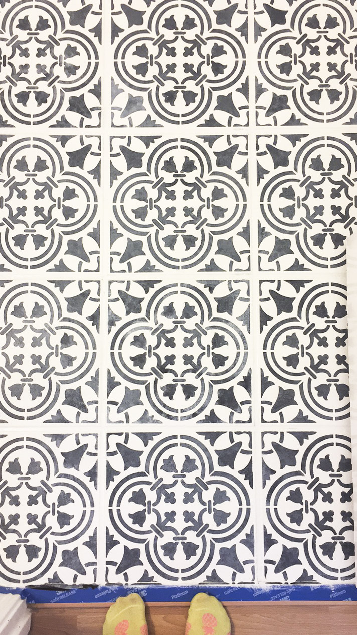 DIY painted moroccan tile_black white moroccan tile_cutting edge stencil augusta_black and white bathroom_12.jpg