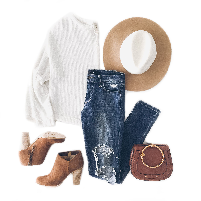 cute fall outfit, joe's jeans icon skinny, free people dahlia top, splendid daphne booties, chloe bracelet bag dupe.