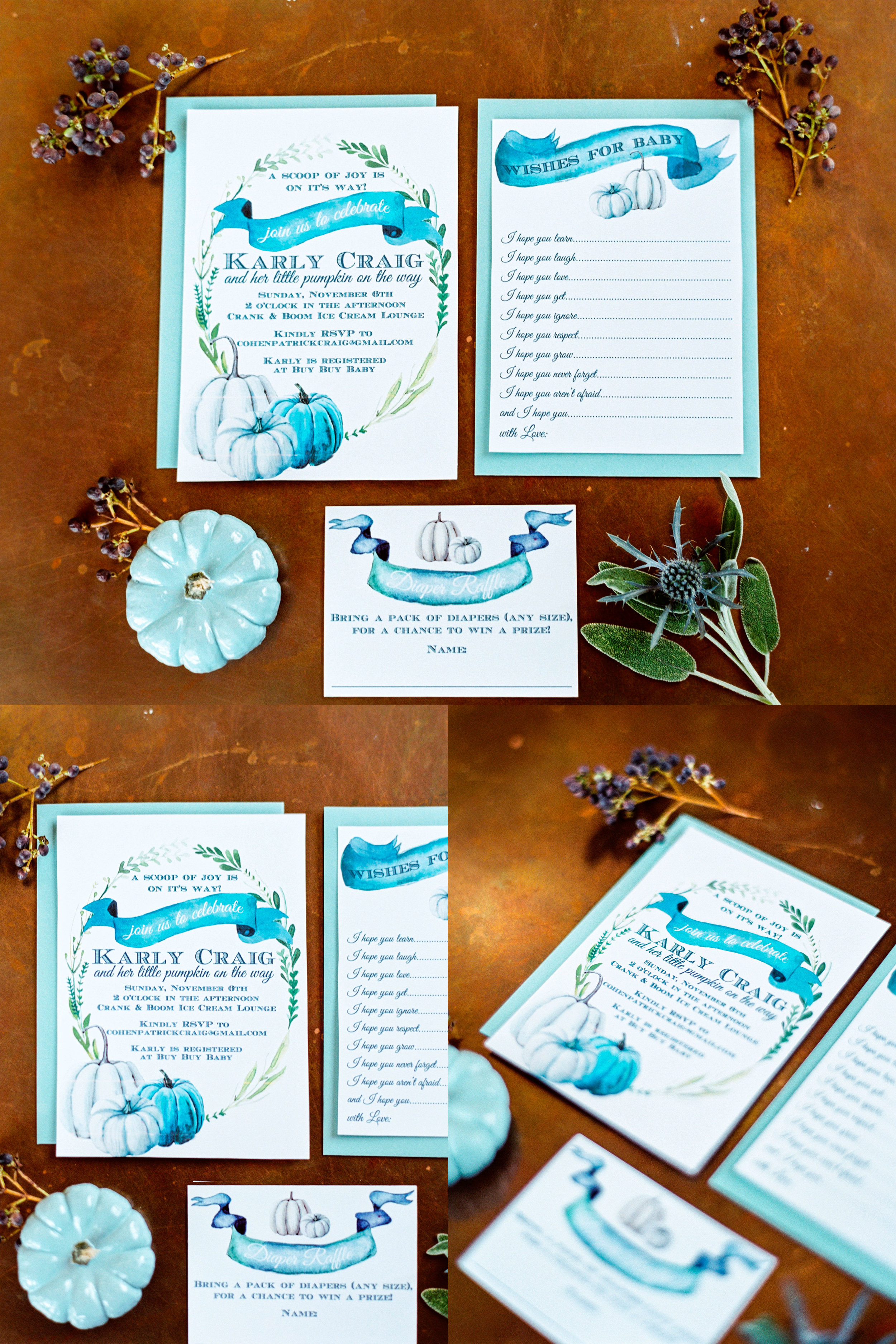 Fall baby shower.  Baby boy shower with pumpkins. Watercolor baby shower invitations.  Wishes for baby shower game.