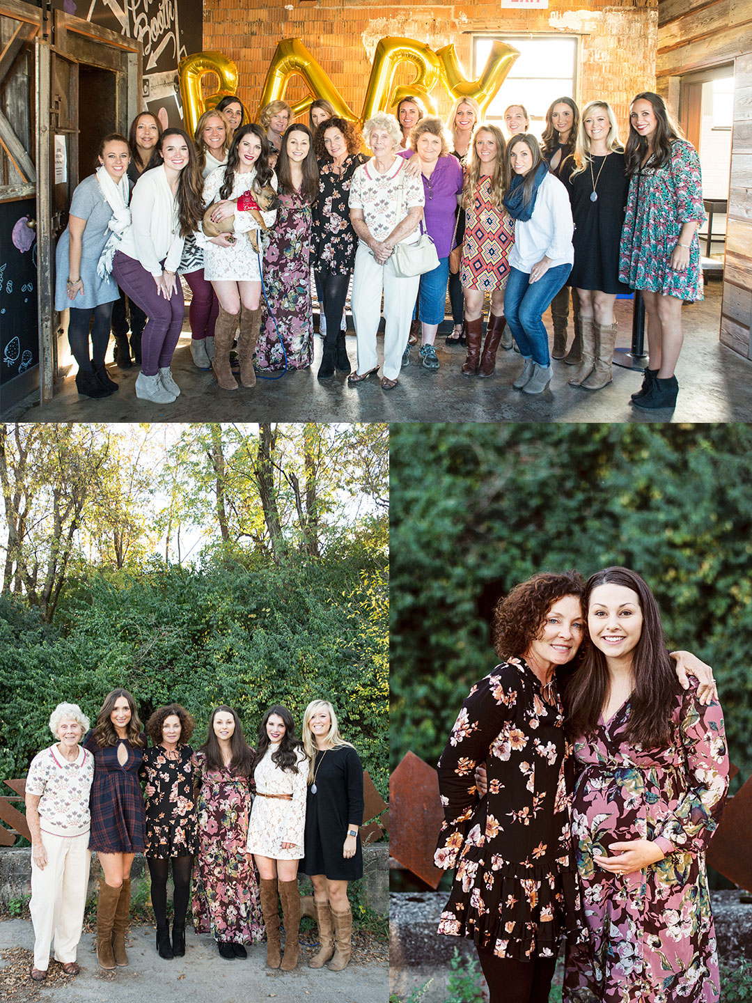 Fall baby shower.  Family photos at baby shower.  Baby shower outfit maternity maxi dress with long sleeves.