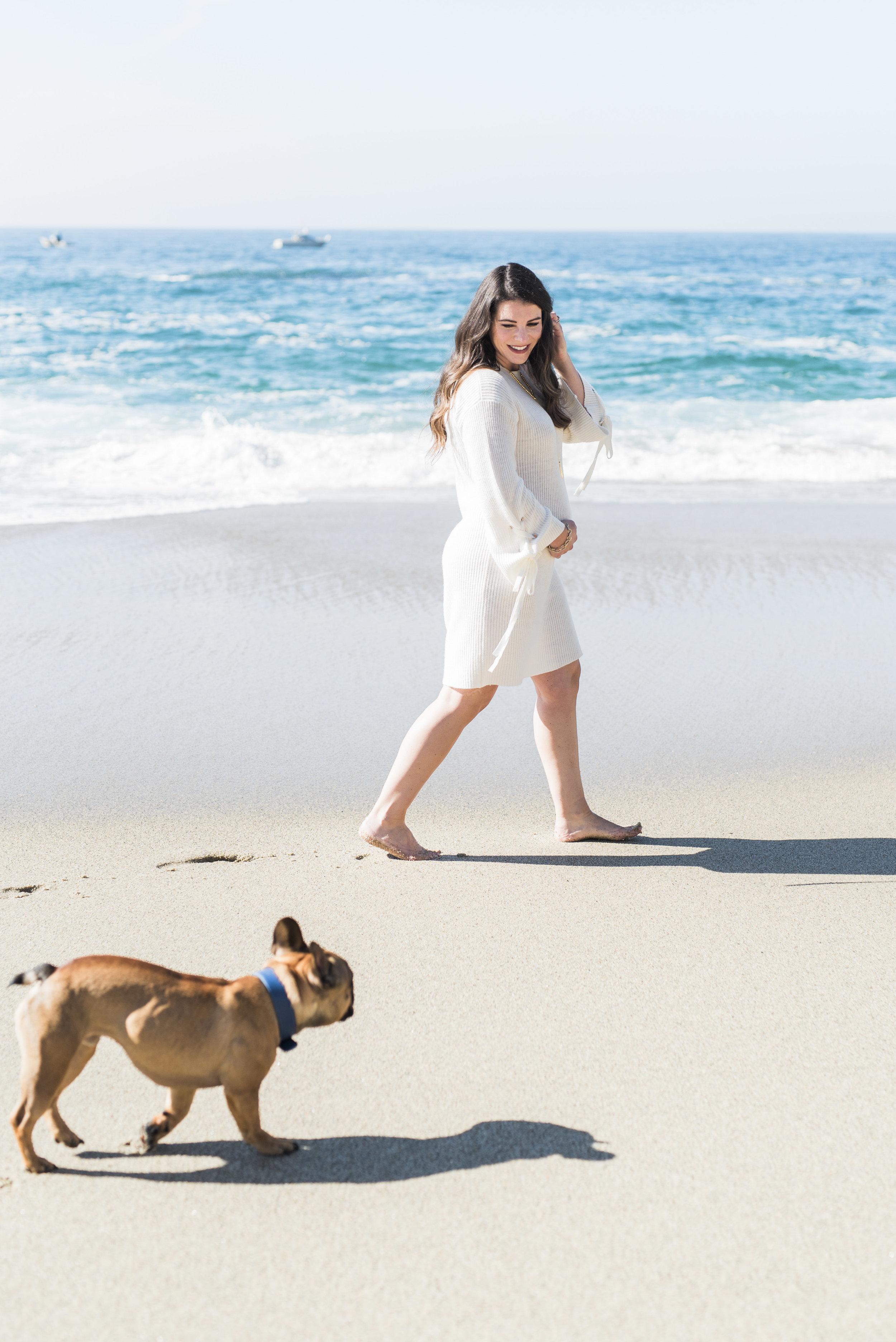 maternity photos on the beach_french bulldog_christmas photos neutral white outfits_01.jpg