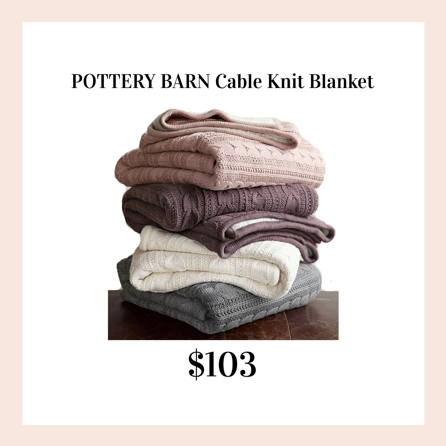 Favorite gifts for her. Pottery Barn cable knit blanket.