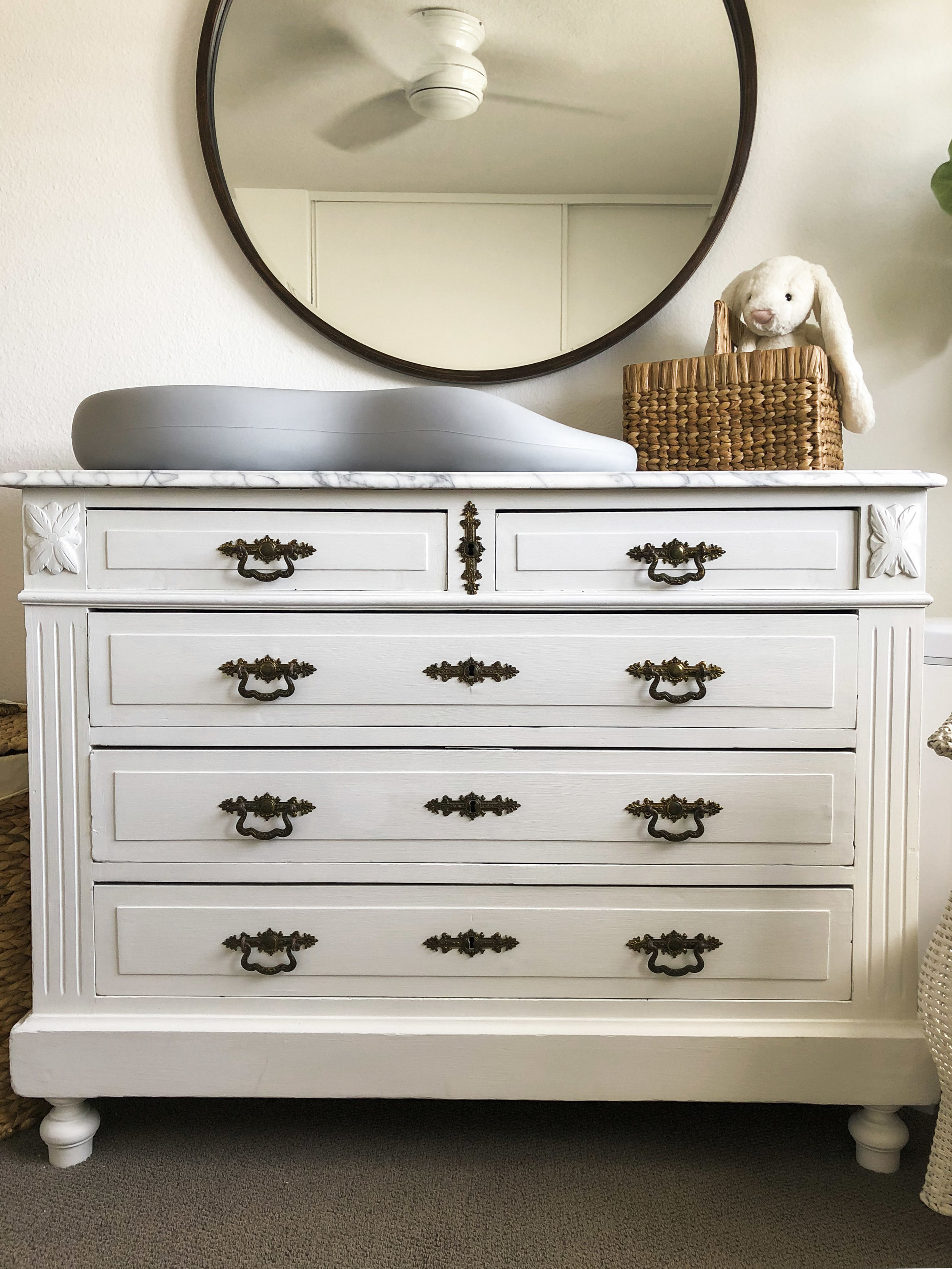 diy changing table, marble top changing table, refinished marble top, white nursery decor.
