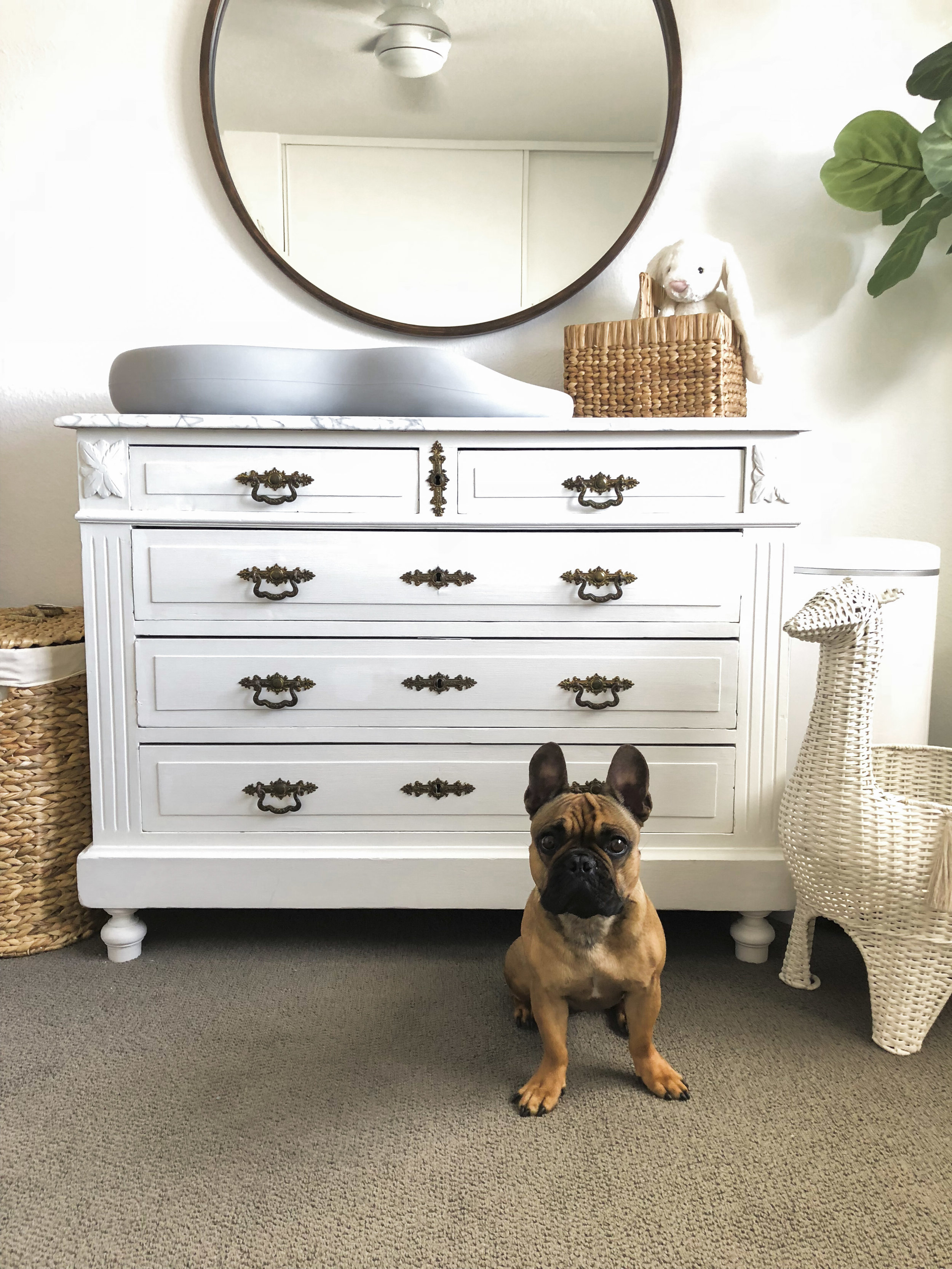 diy changing table, marble top changing table, refinished marble top, white nursery decor