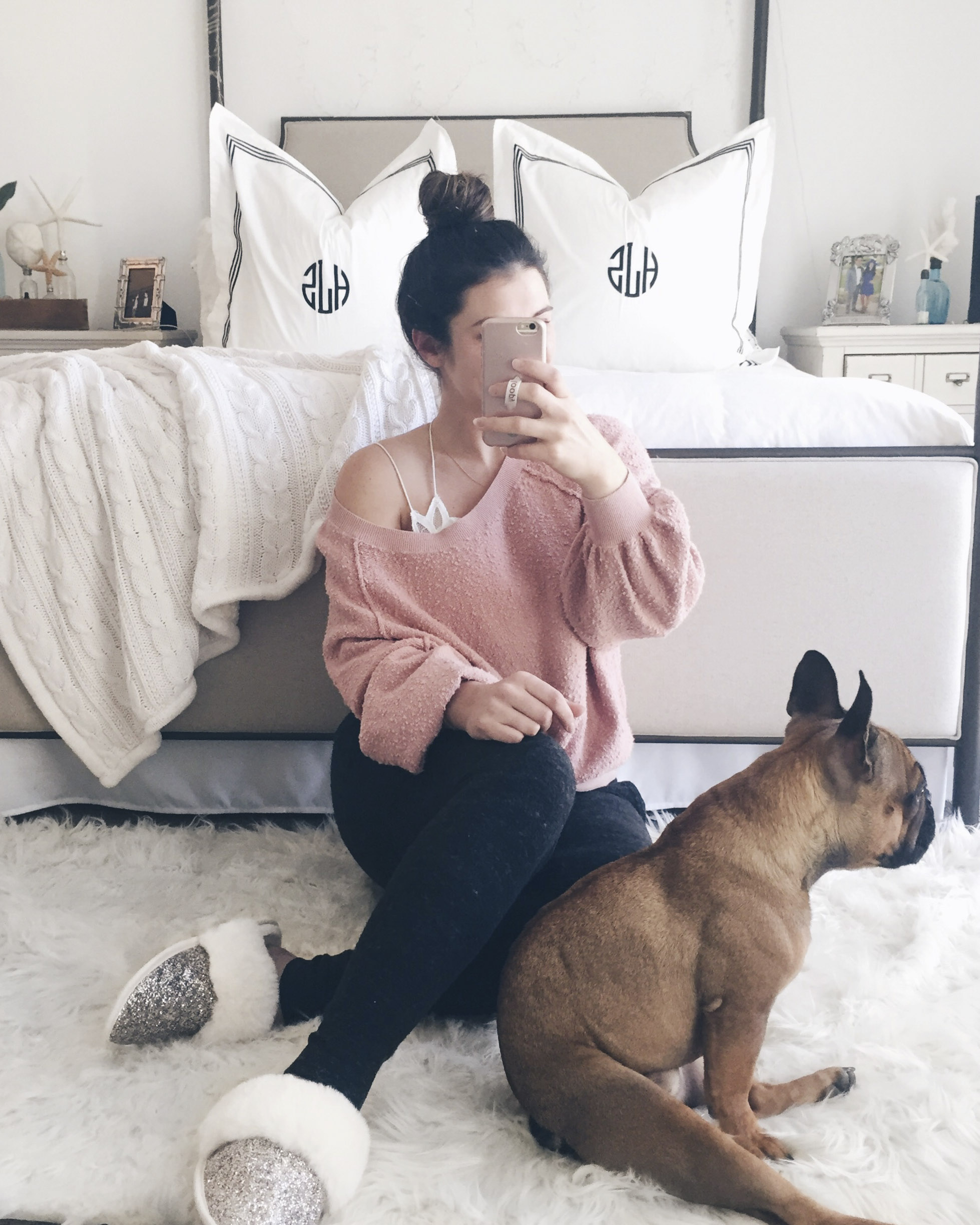 second trimester maternity outfit- gray joggers, free people found my friend sweatshirt, and free people adella bralette.