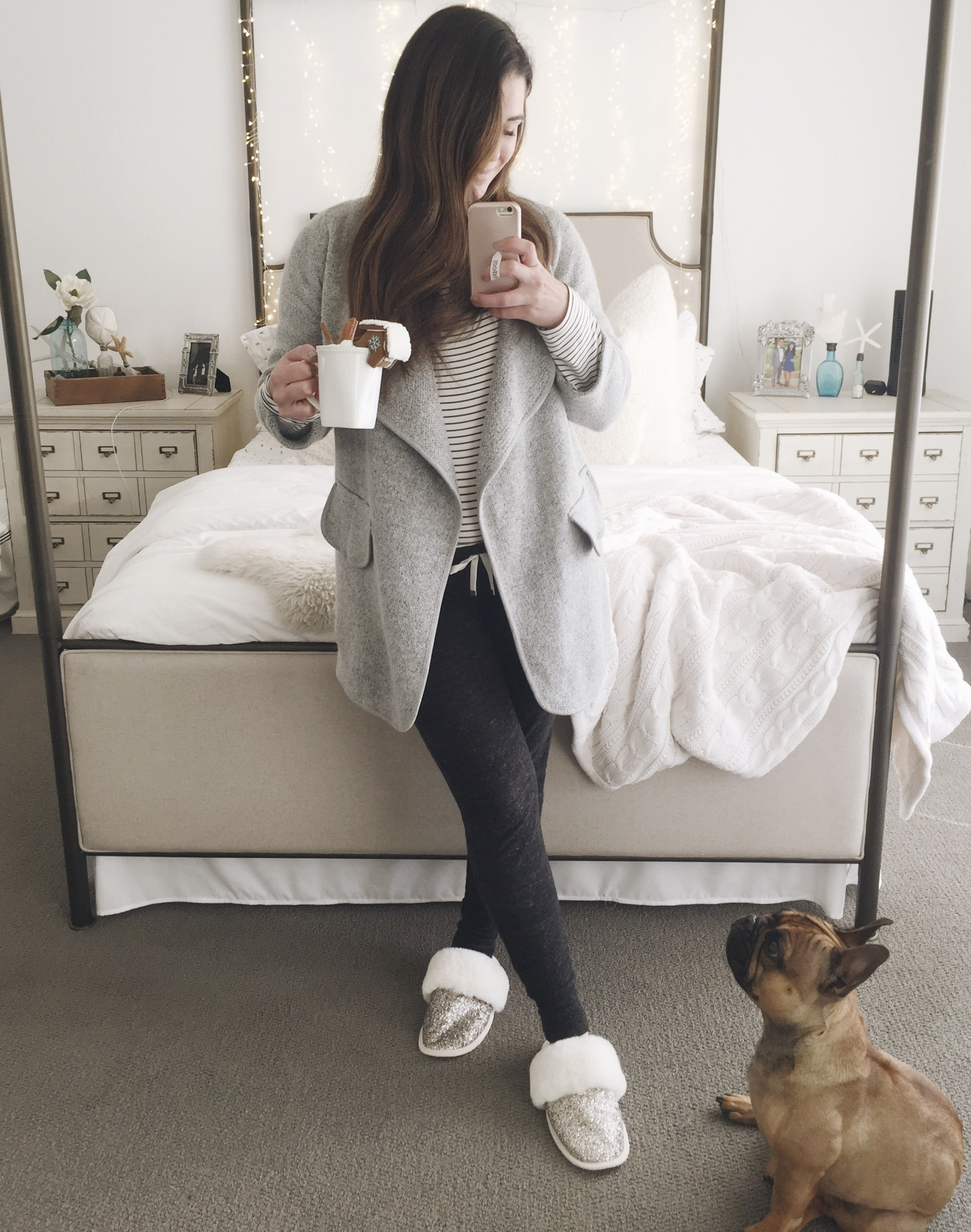 Second trimester maternity outfit.  Gray joggers, oversized tee, long cardigan, and comfy slippers.