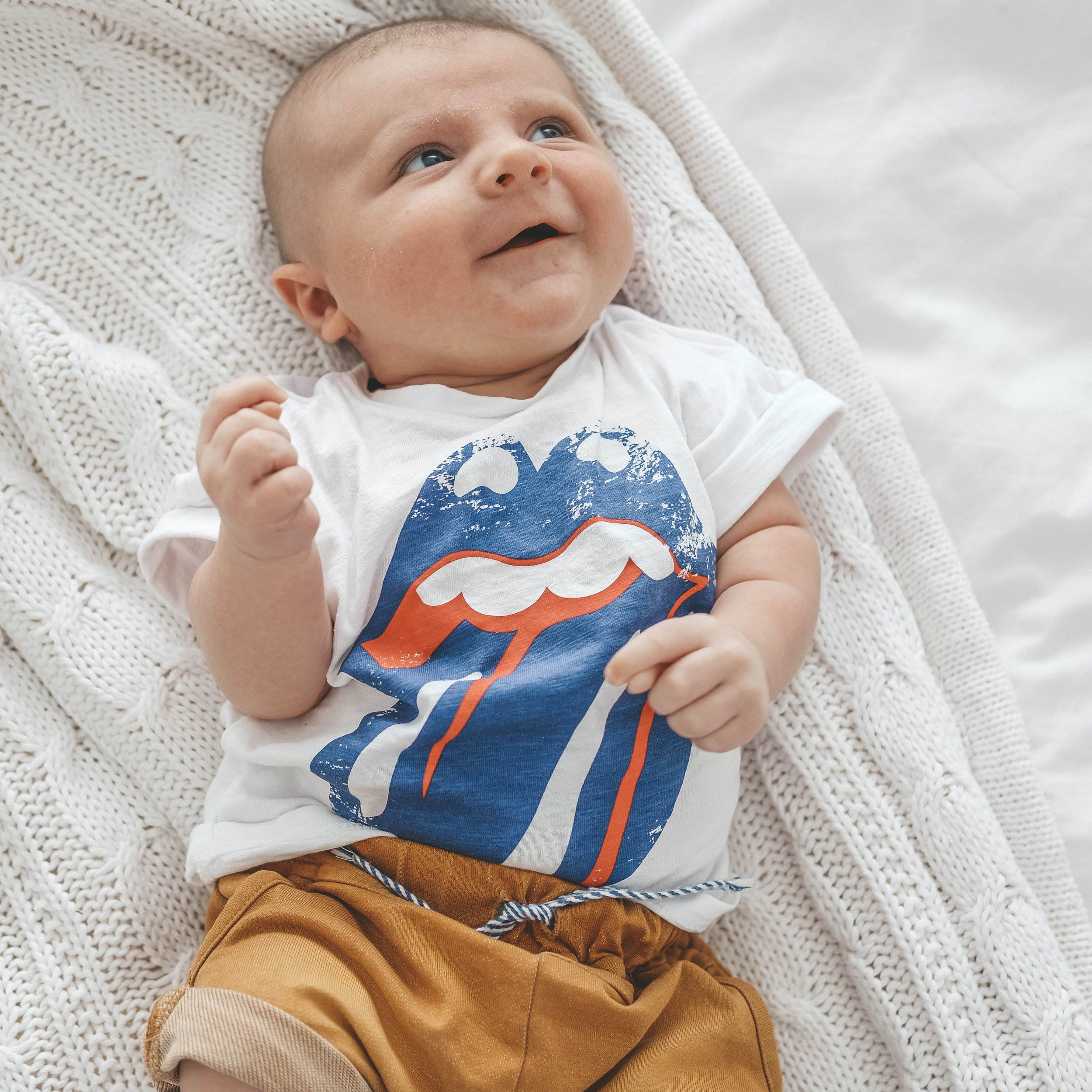 Fourth of July outfit ideas for baby.  Baby boy summer style.  Rolling Stones newborn top tee.