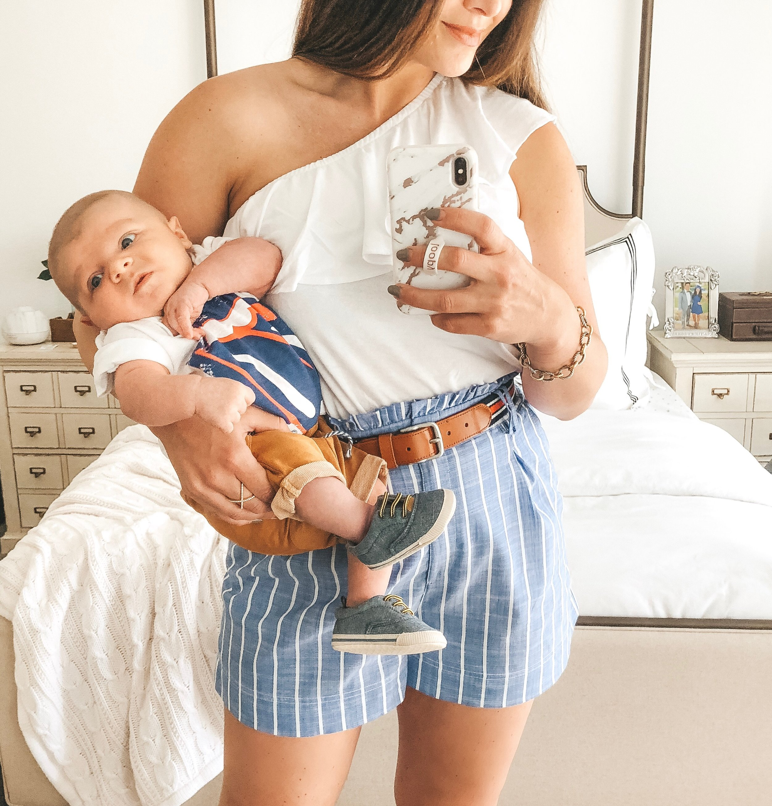 Mommy and me July 4th outfits.  Baby boy style.  High waisted shorts for summer.