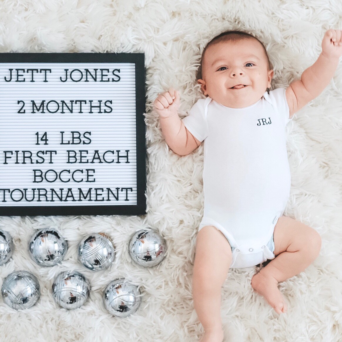 Montlhy newborn photos.  Black and white baby boy nursery.