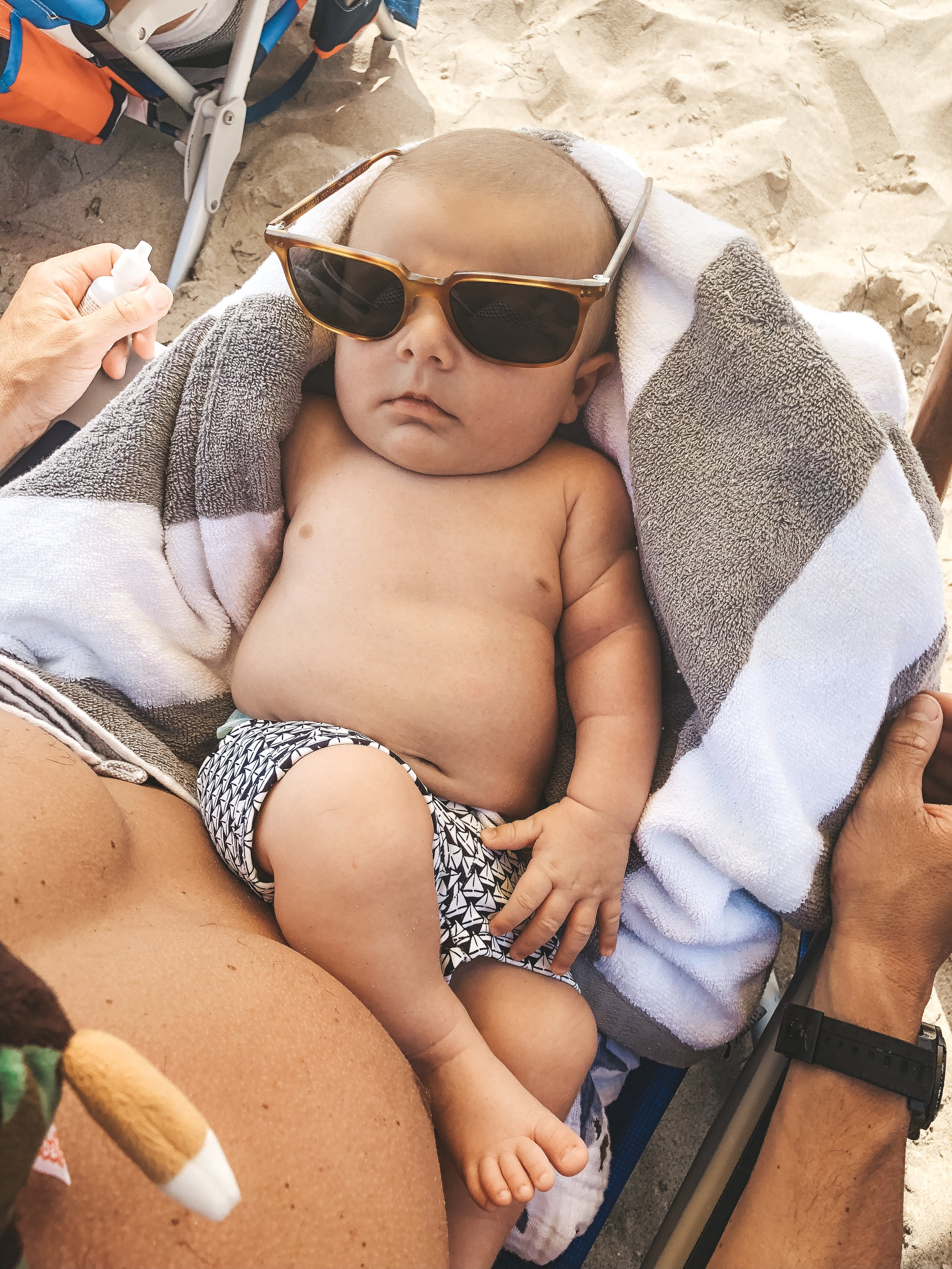 How to take your newborn baby to the beach.