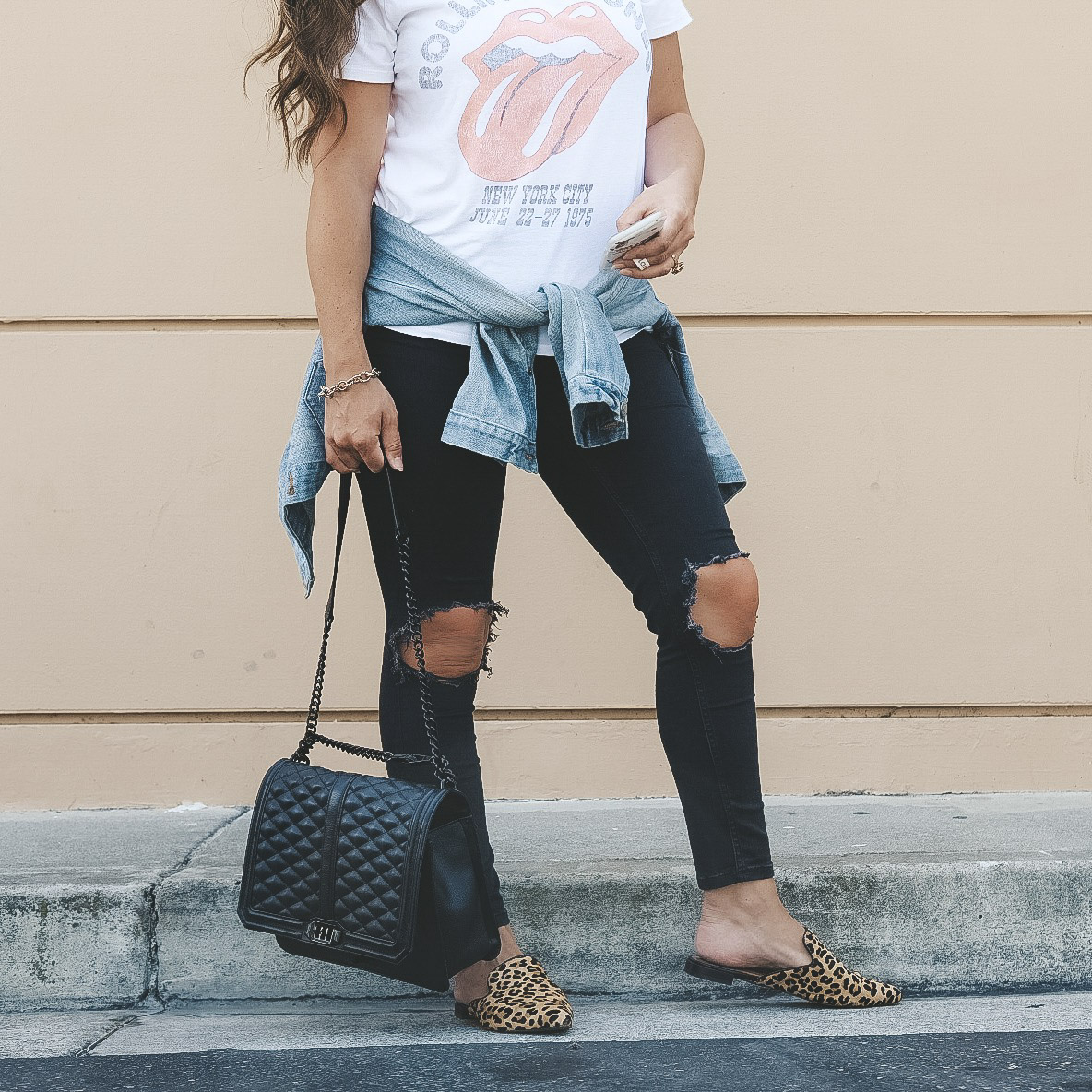 Leopard shoes and accessories for fall 2018.  Steve Madden Velocity mules, Rebecca Minkoff love crossbody bag, Free People