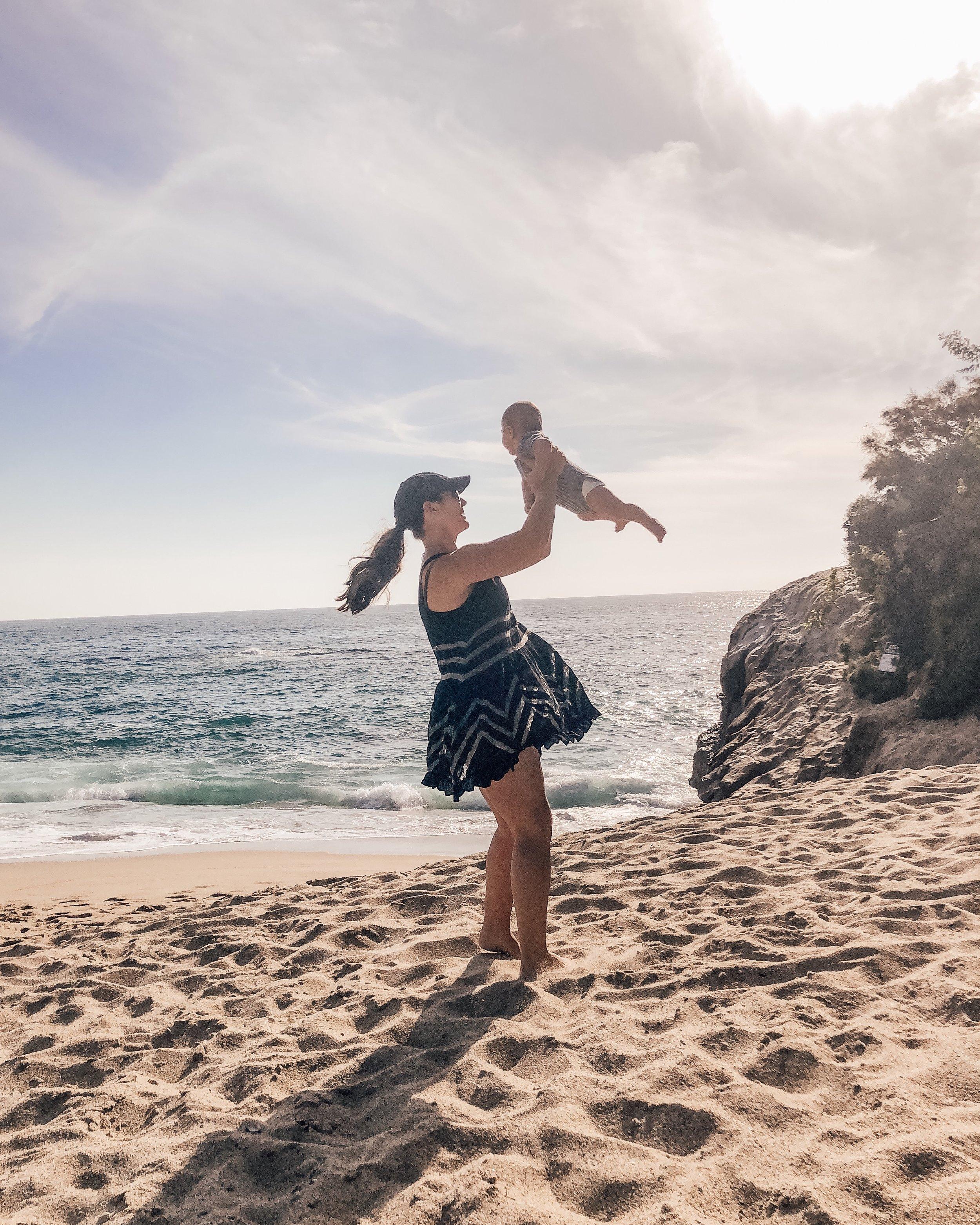 Mommy and baby at the beach.  Table Rock beach in Laguna Beach.