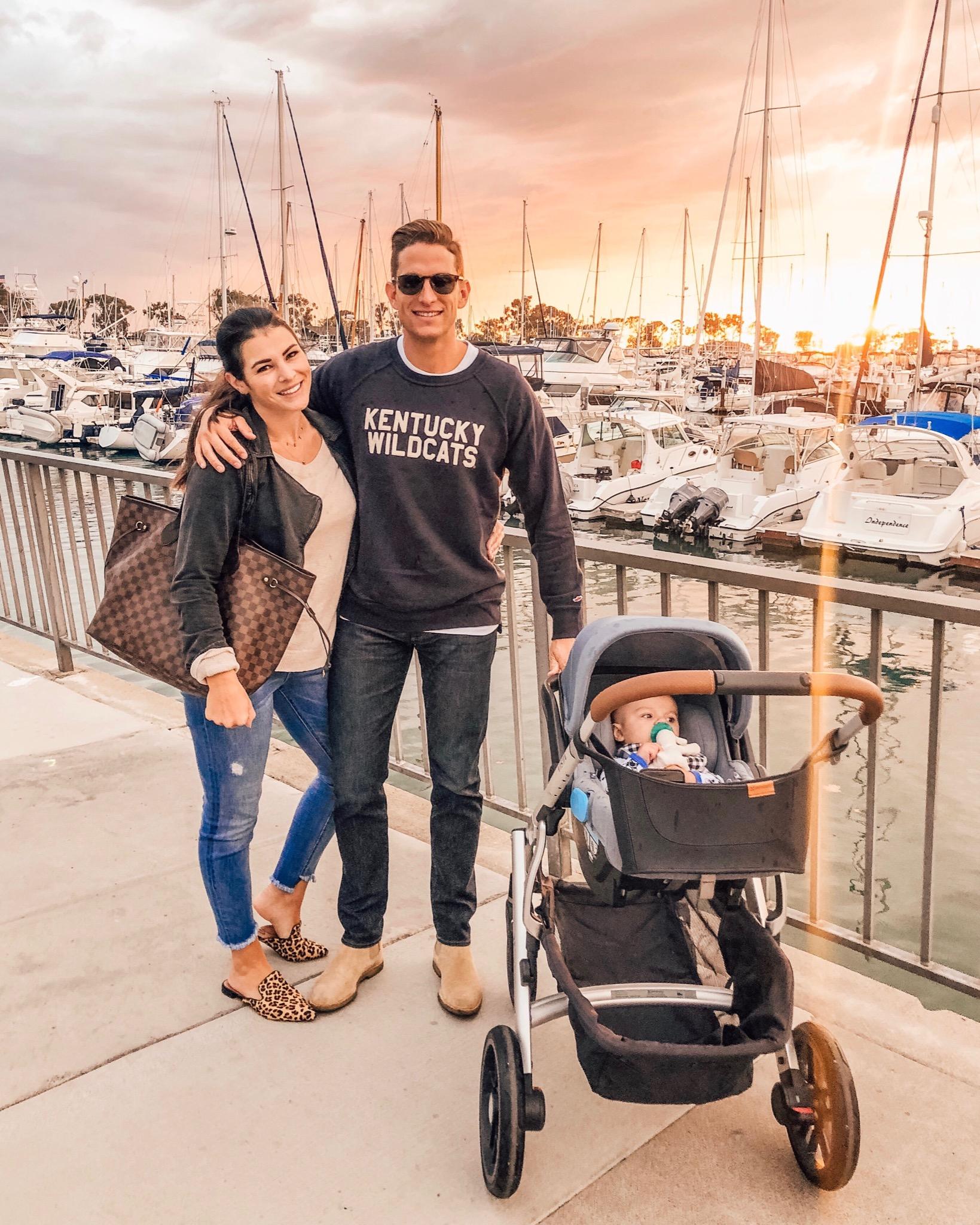 California family.  Dana Point harbor in the fall.