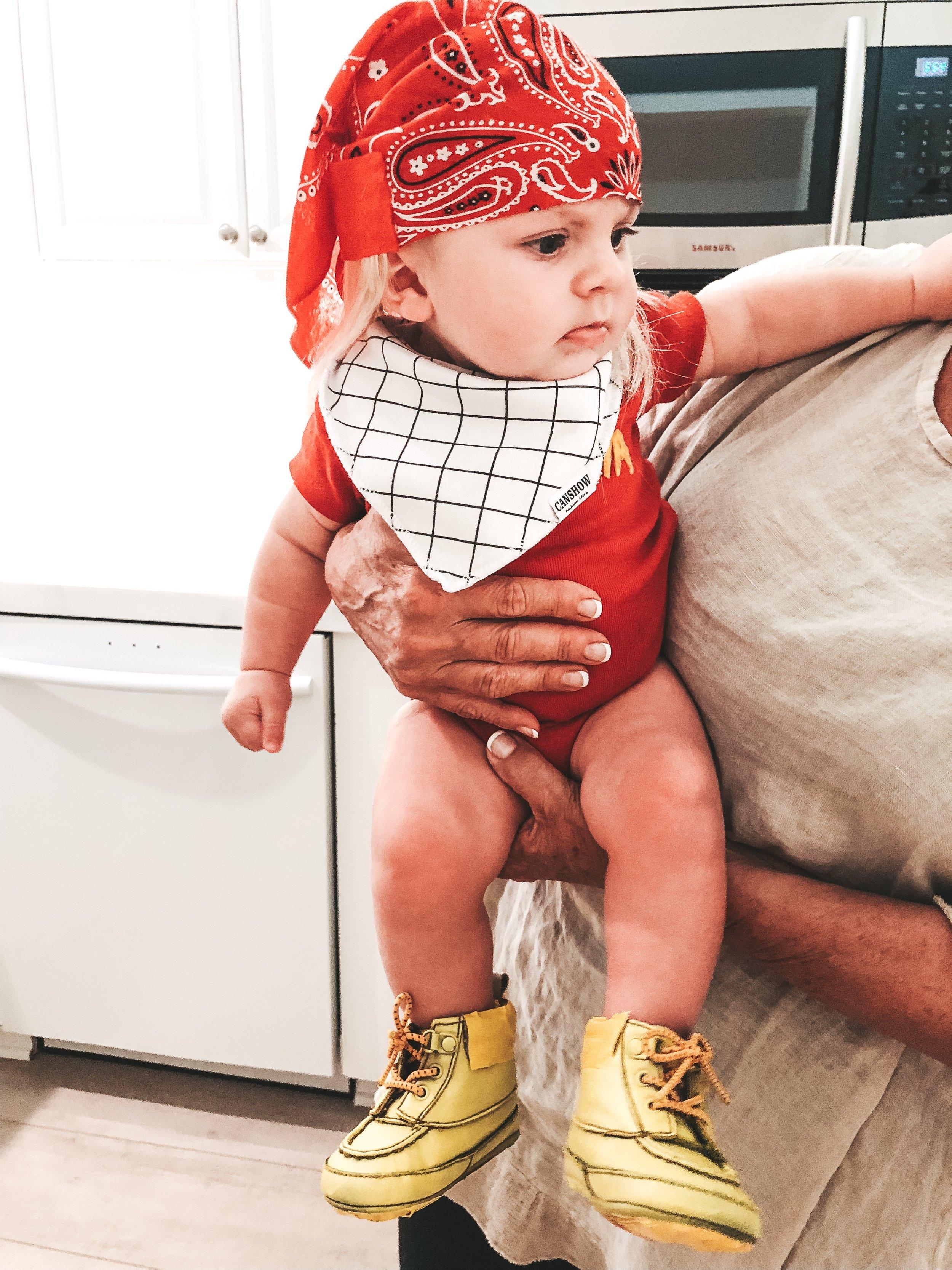 Baby's first Halloween.  DIY Hulk Hogan costume for baby.