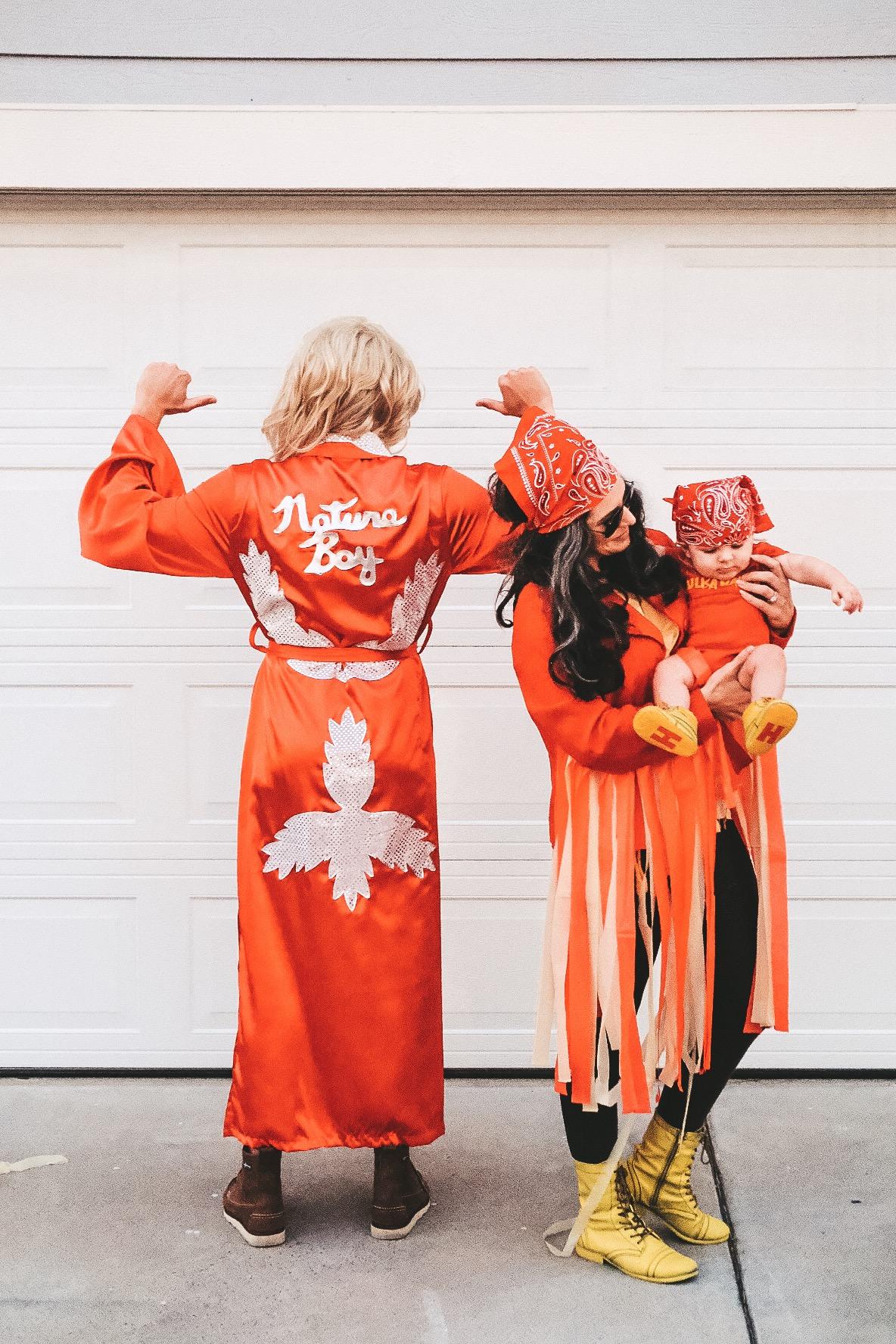 Family Halloween Costume.  WWE Wrestling Family Costume.  DIY baby Hulk Hogan costume.  DIY Macho Man costume.  Nature Boy costume.