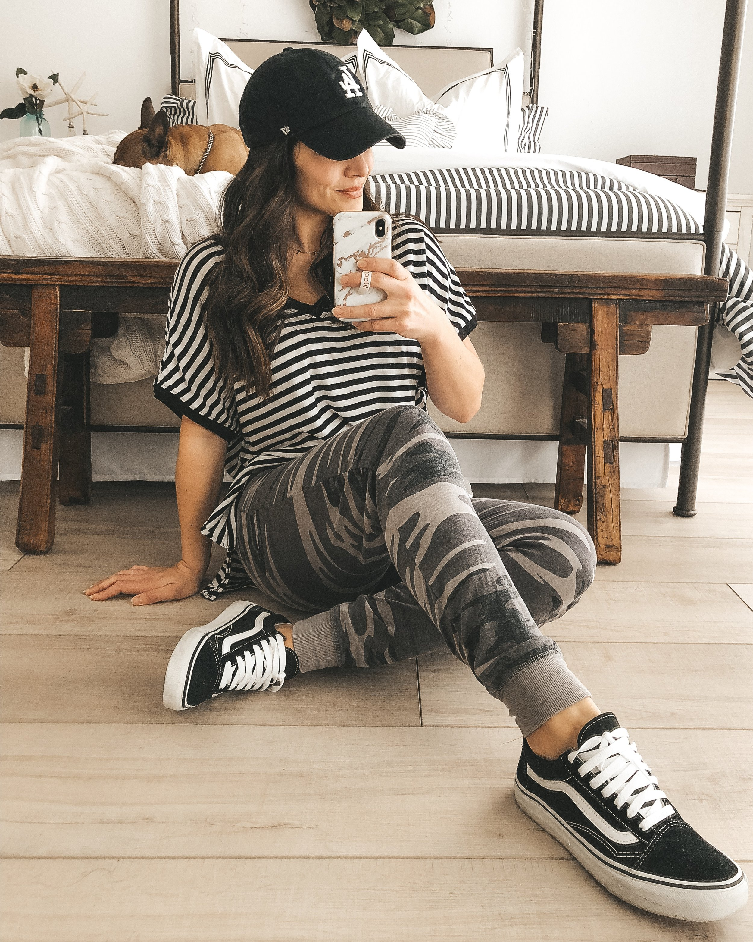 Z Supply Boyfriend tee with Z Supply camo joggers.  Vans Old skool in black and white.  Cute mom outfit for the weekend.