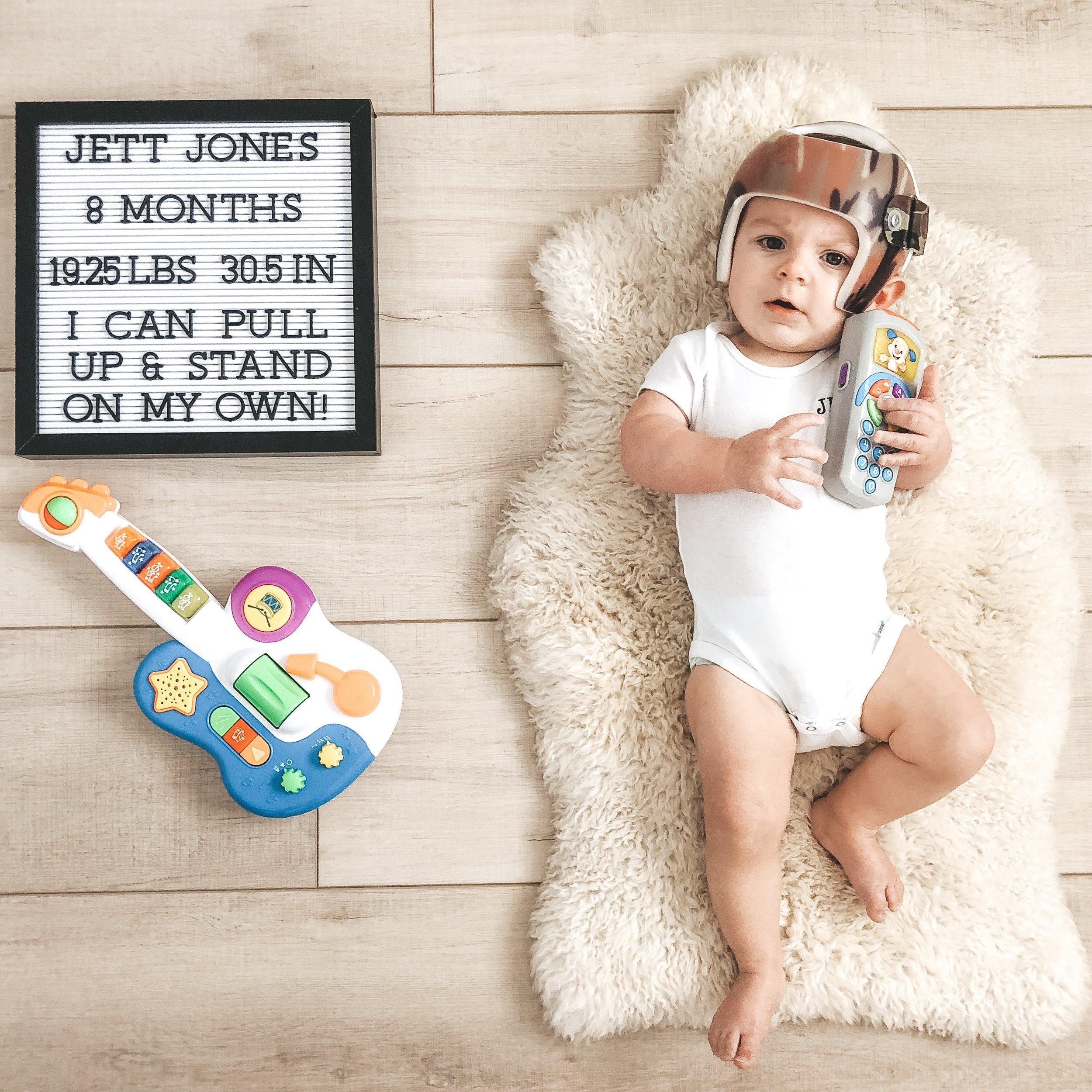 Jett Jones, 8 Months old.  Monthly photos of newborn baby boy.