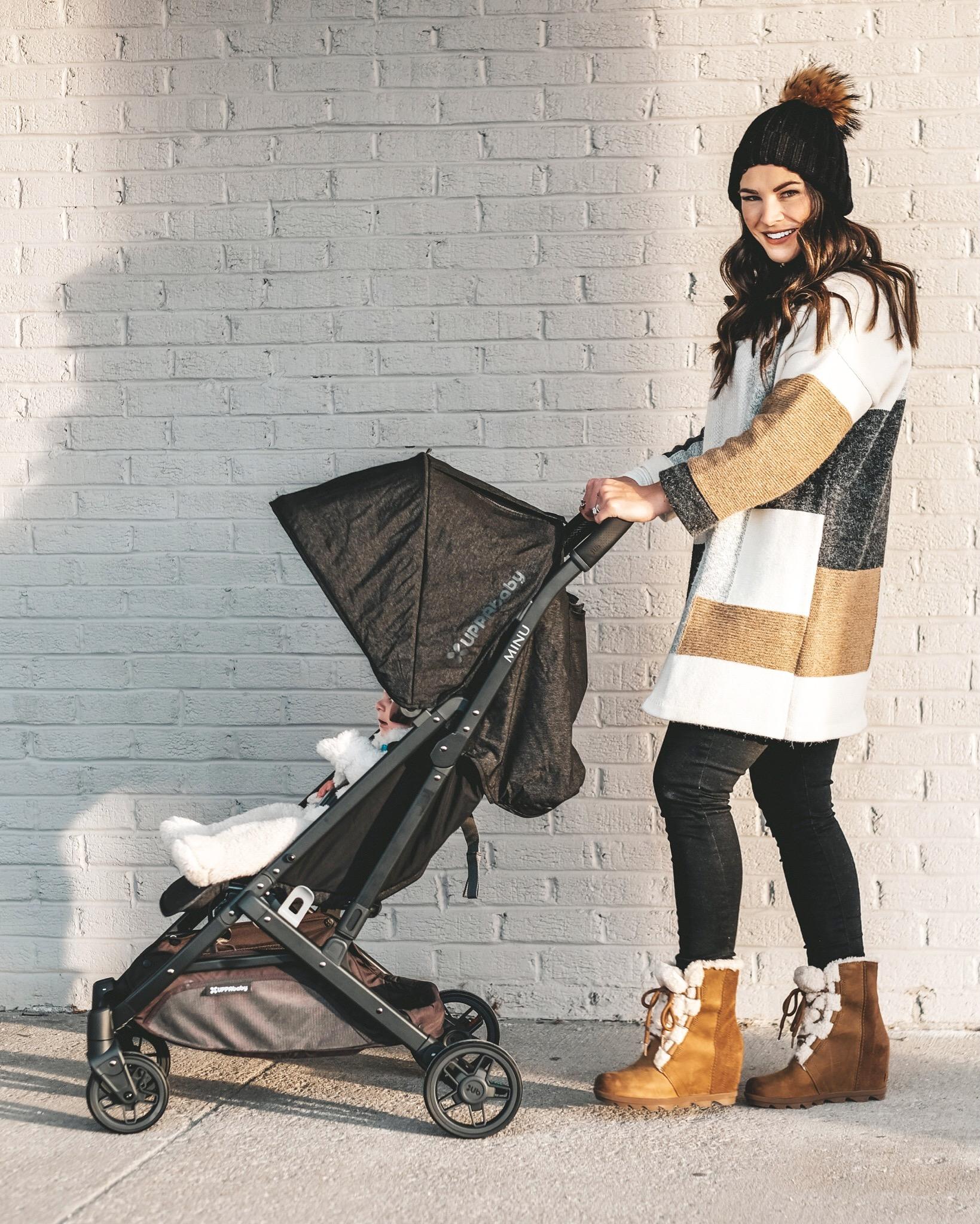 Jett Jones, 8 Months Old.  Uppababy MINU stroller.  Compact stroller.